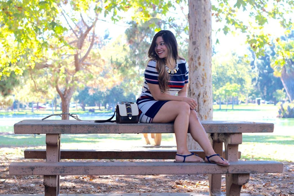 Nautical-Inspired Stripe Dress