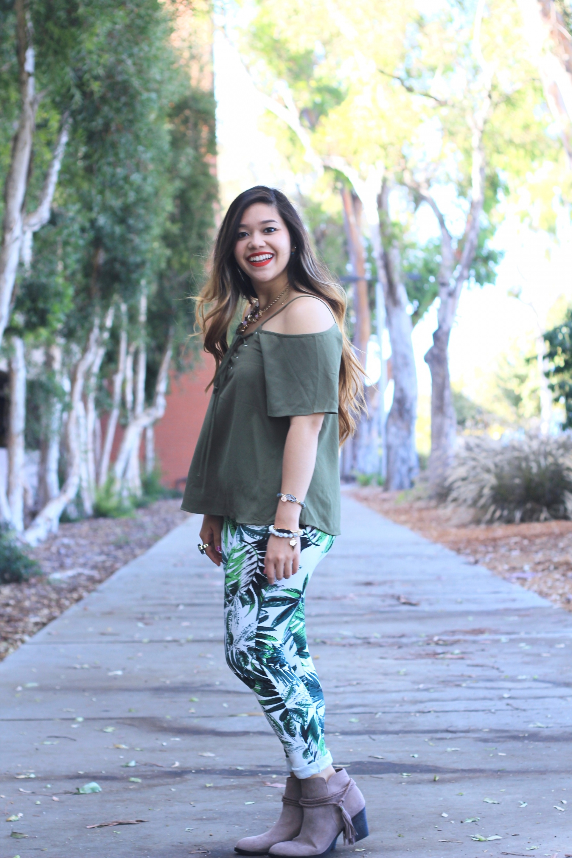 palm print skinny pants
