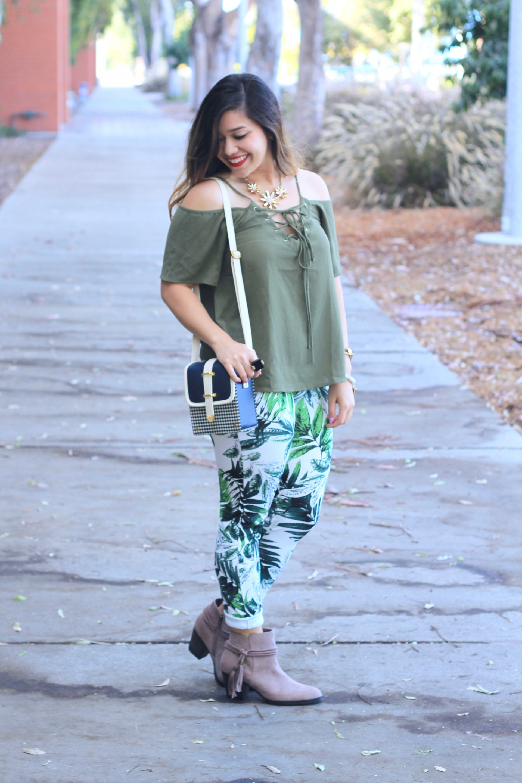 leaf print pants