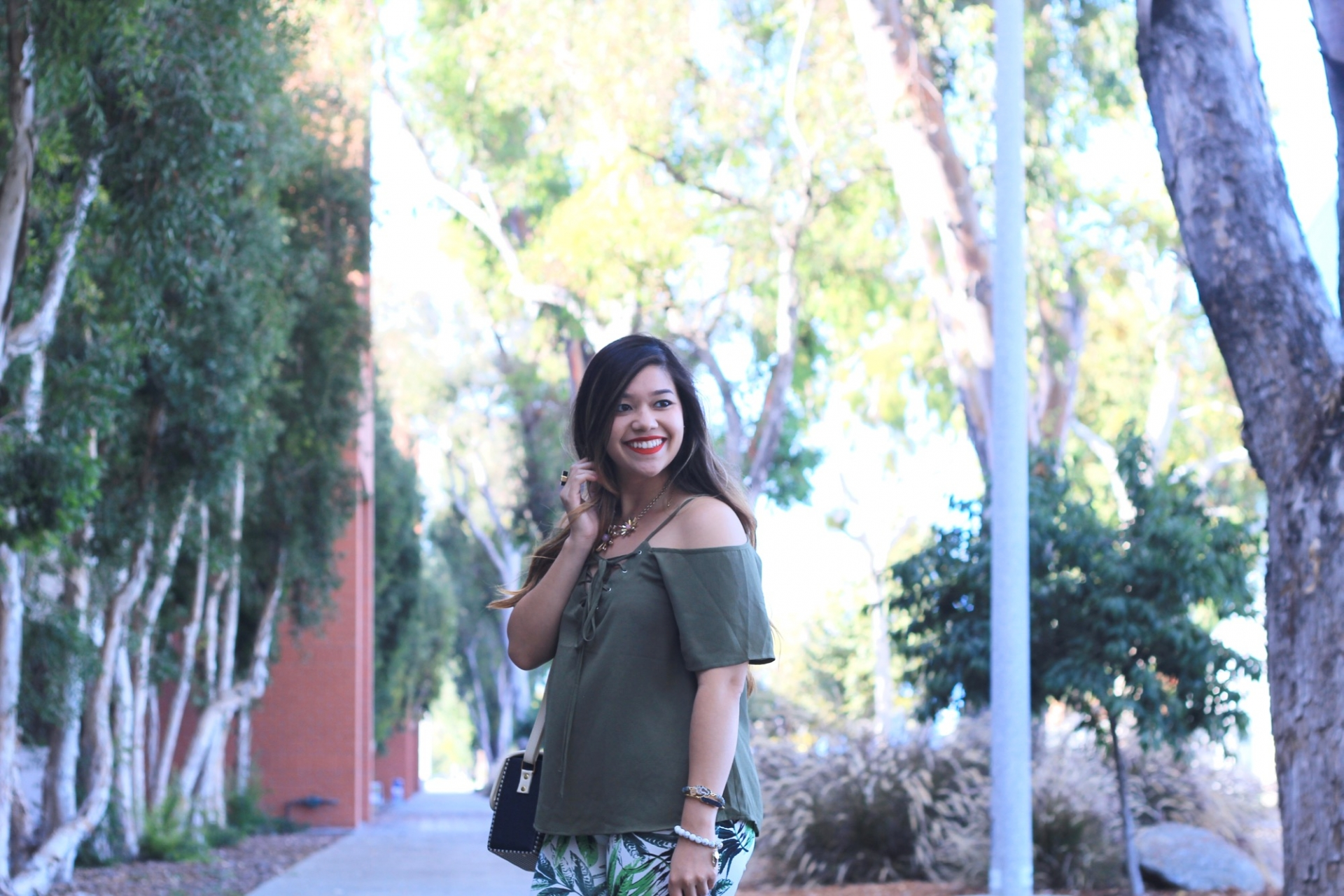 olive green lace up off the shoulder top