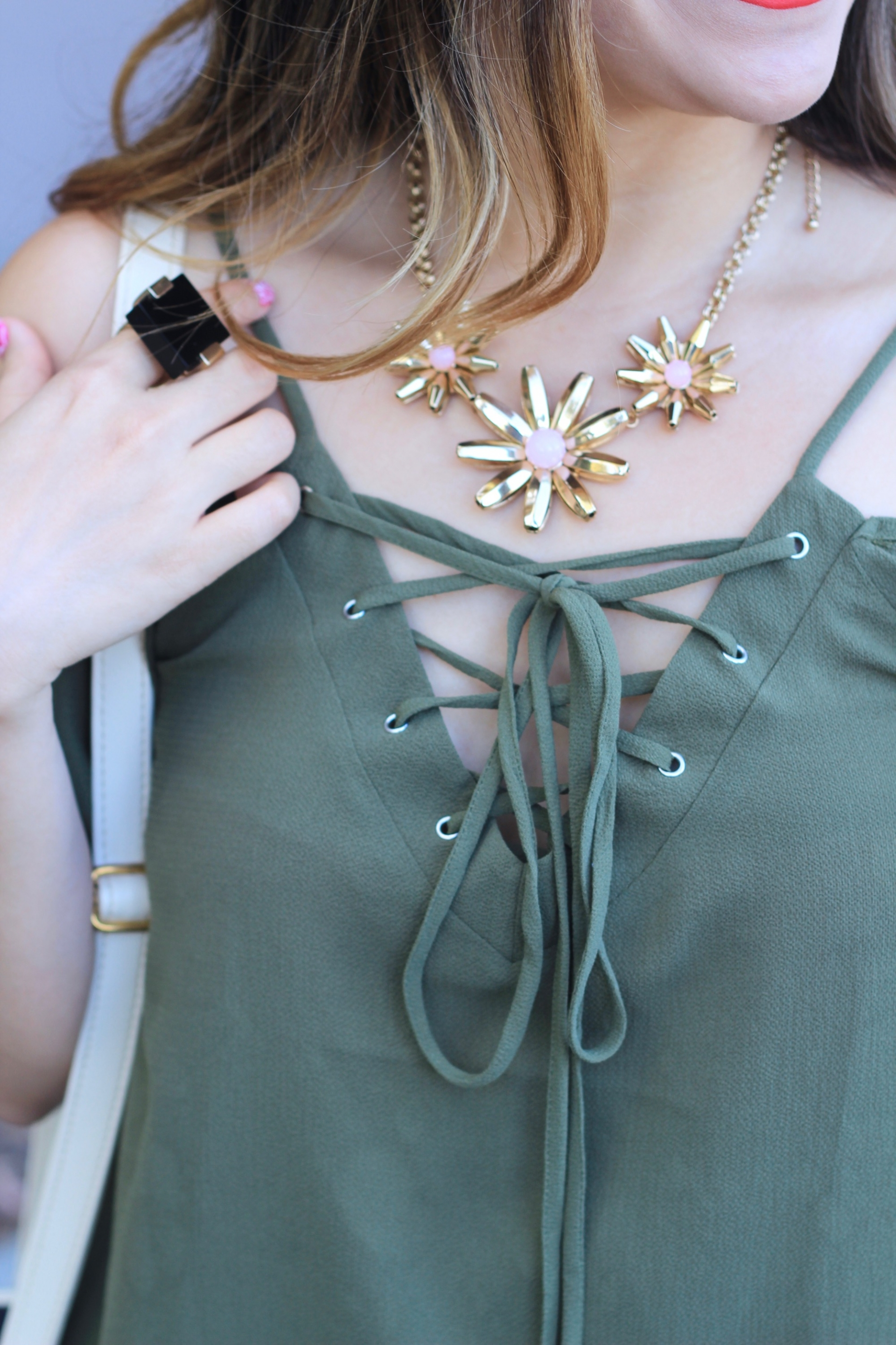 army green lace up top