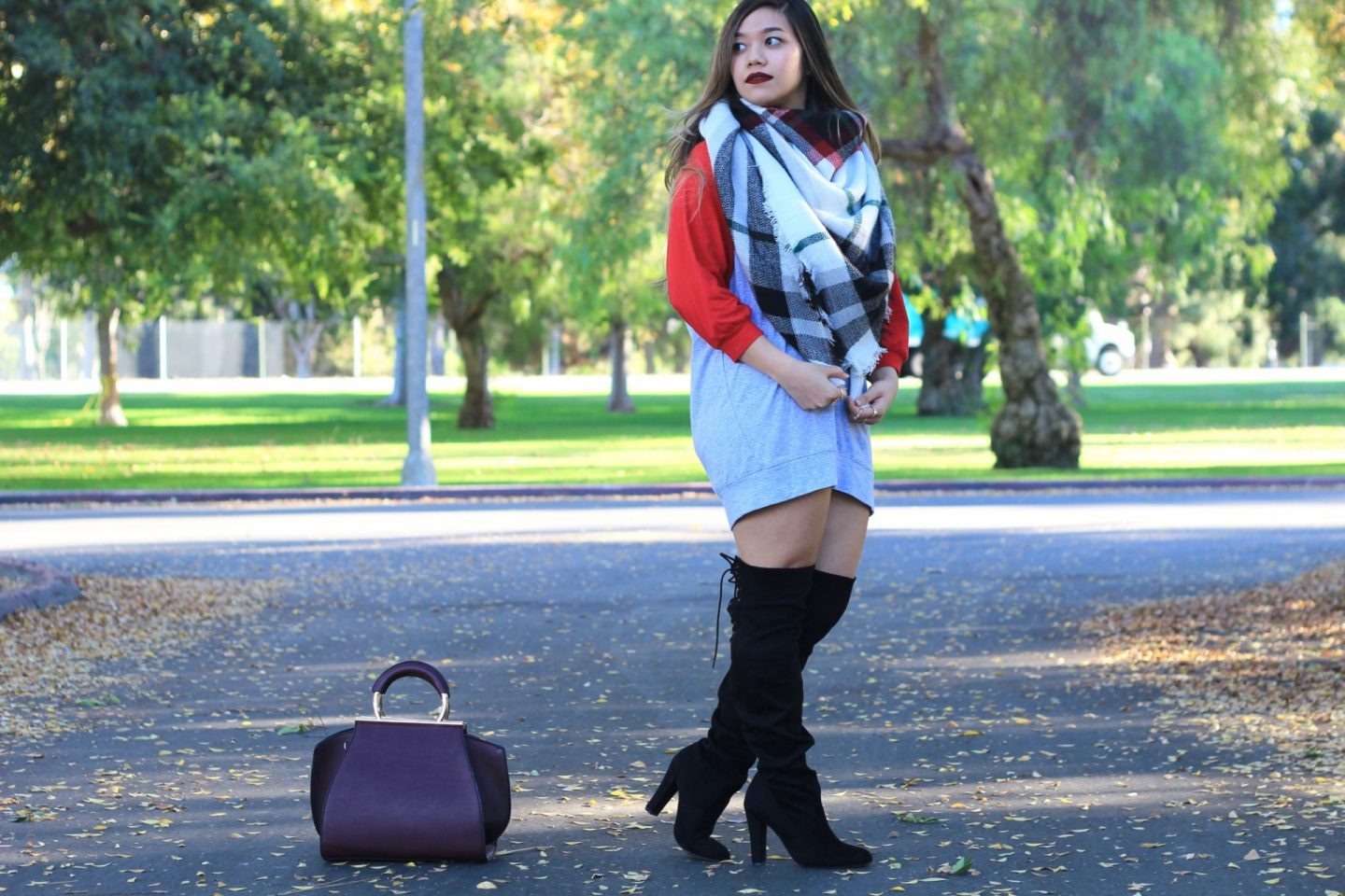 Fall Essentials: Plaid Blanket Scarf + Slouchy Dolman Tunic