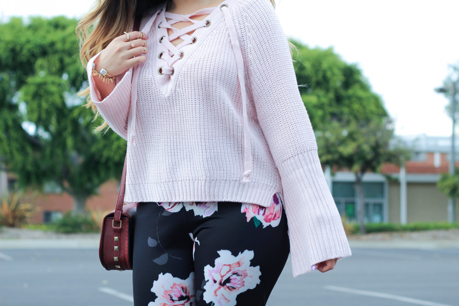 pink lace-up sweater bell sleeve