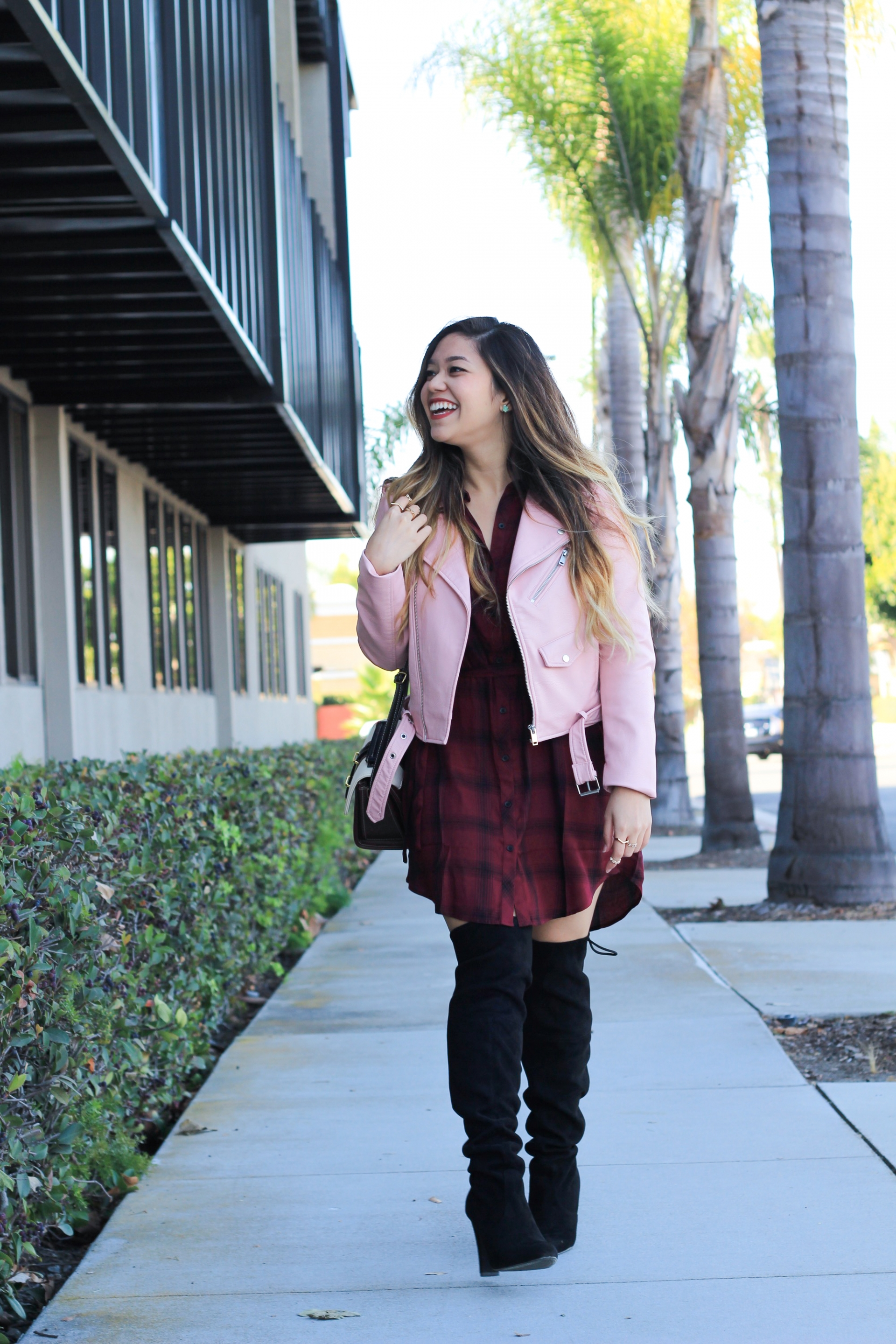 Baby Pink Faux Leather Jacket