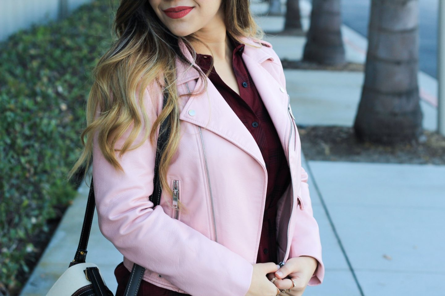 Pink Faux Leather Jacket + Belted Plaid Shirt Dress