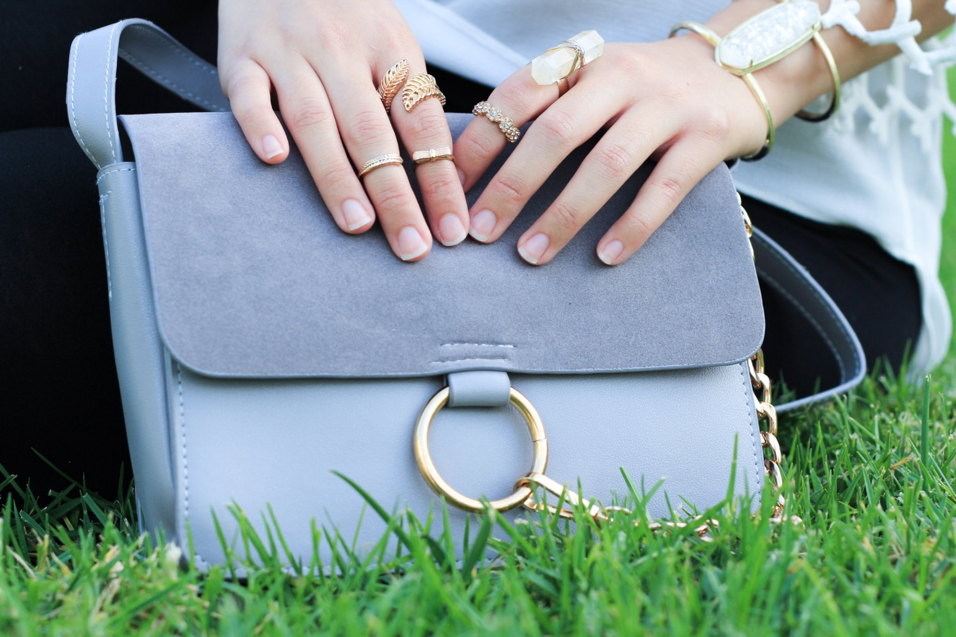 Gray Suede Chain Bag