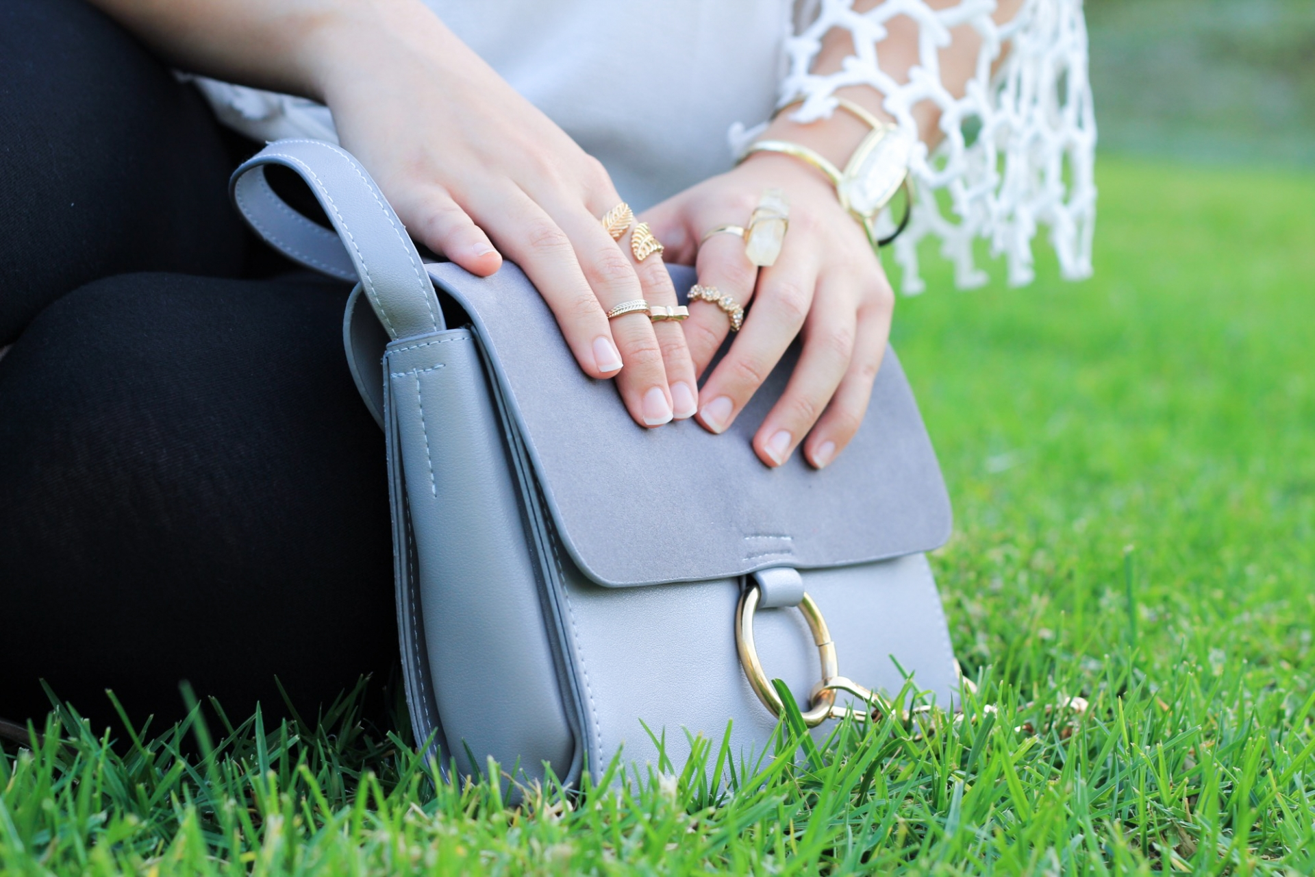 Gray Suede Chain Detail Cross Body Bag