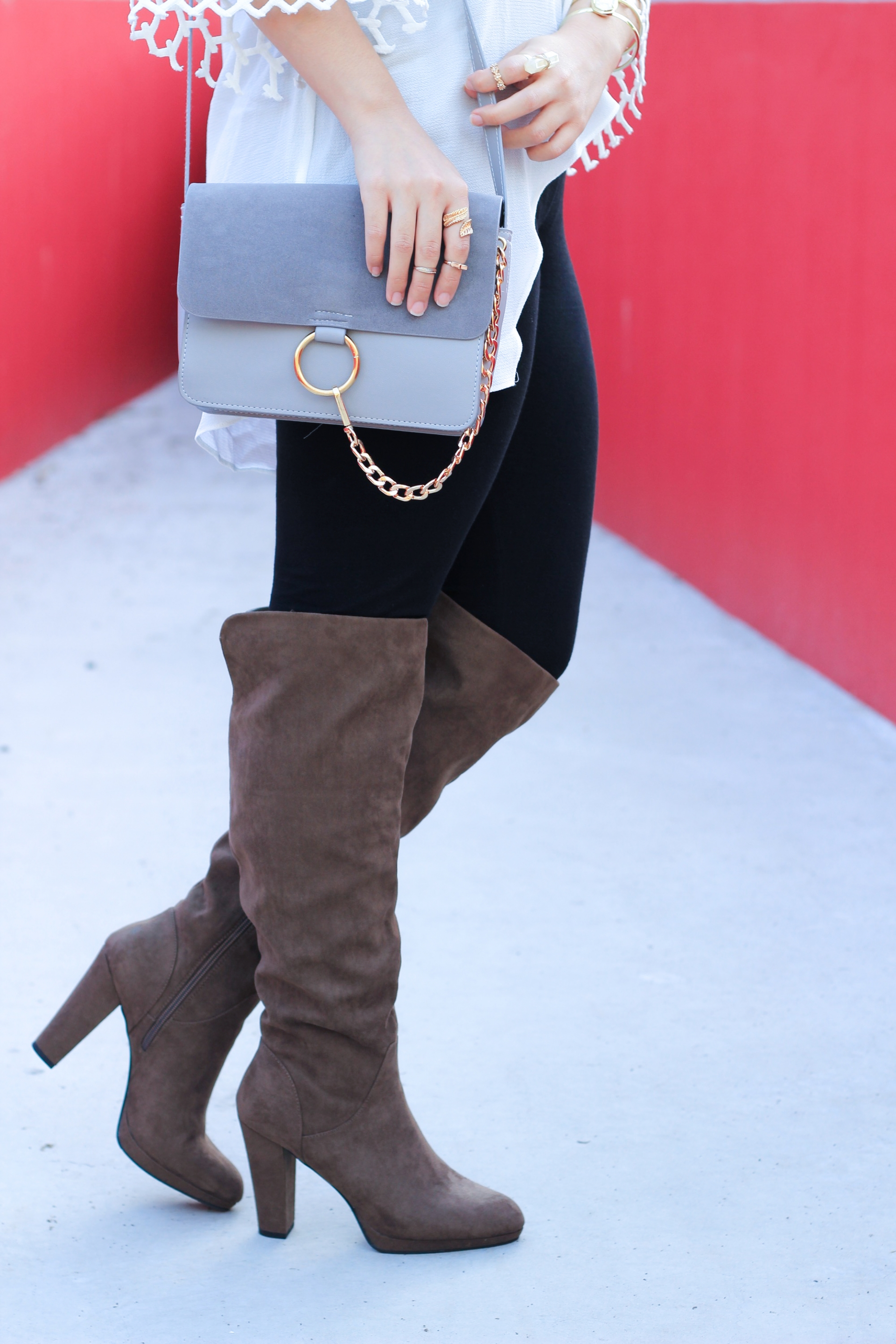 Gray Suede Cross Body Bag
