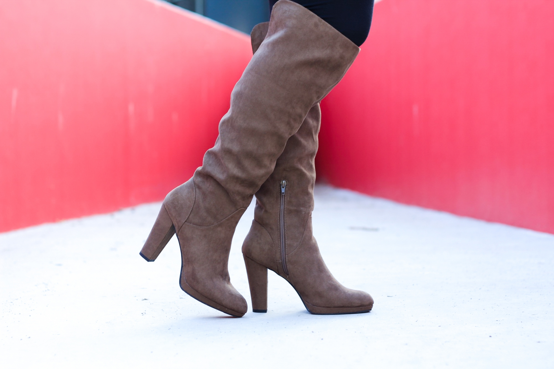 Olive Suede Knee High Boots