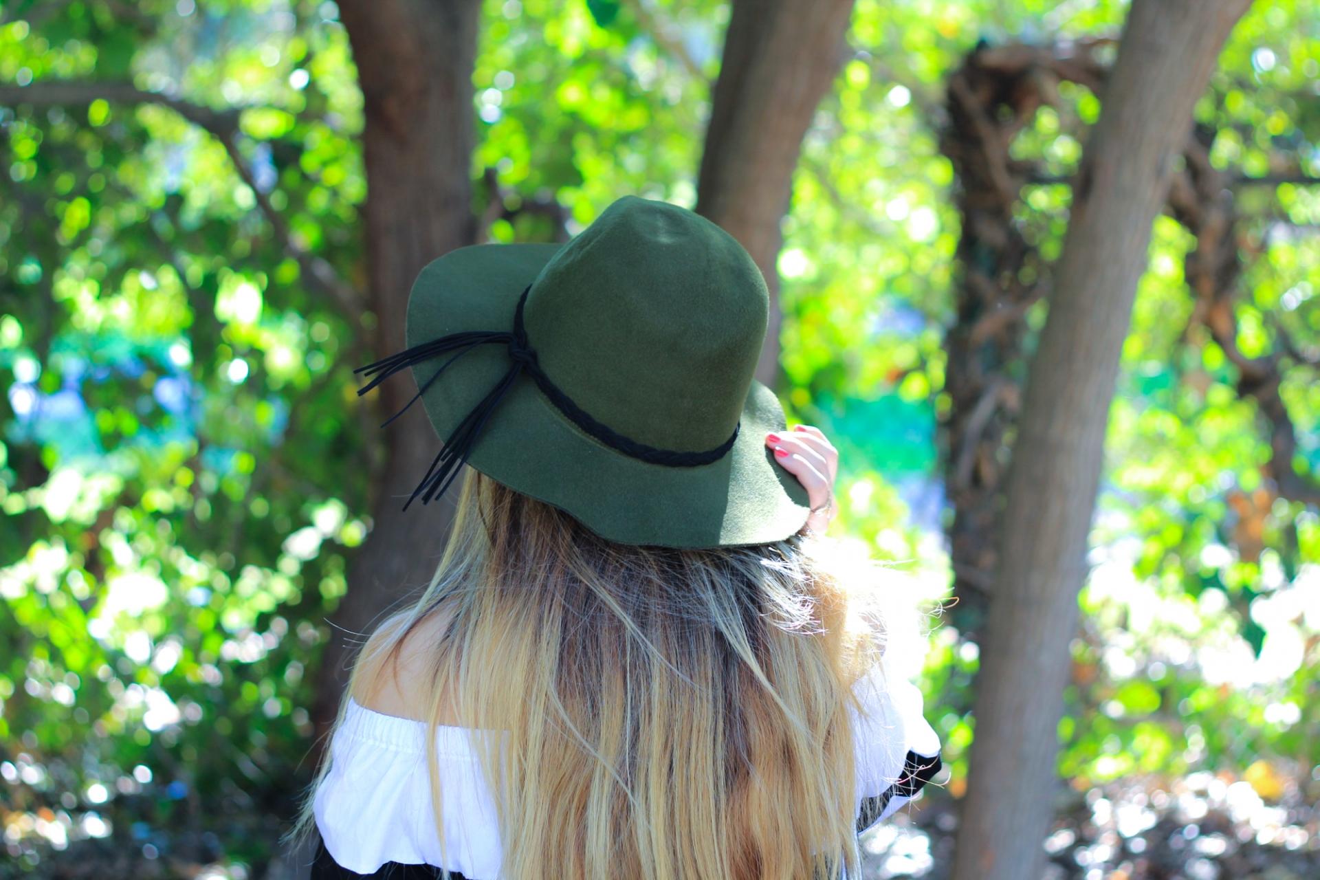 Green Braided Tassel Hat