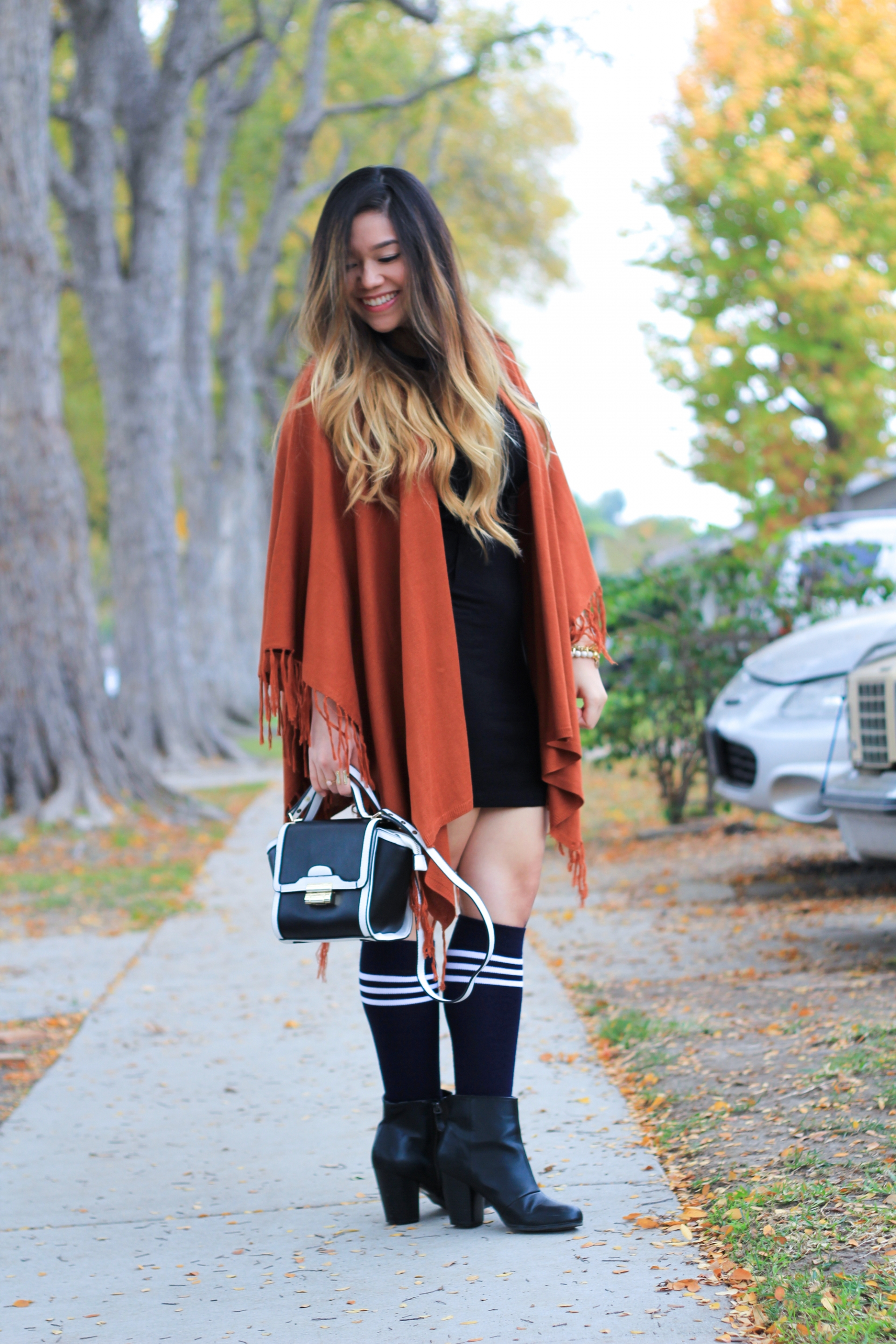 Rust Fringe Sweater Shawl
