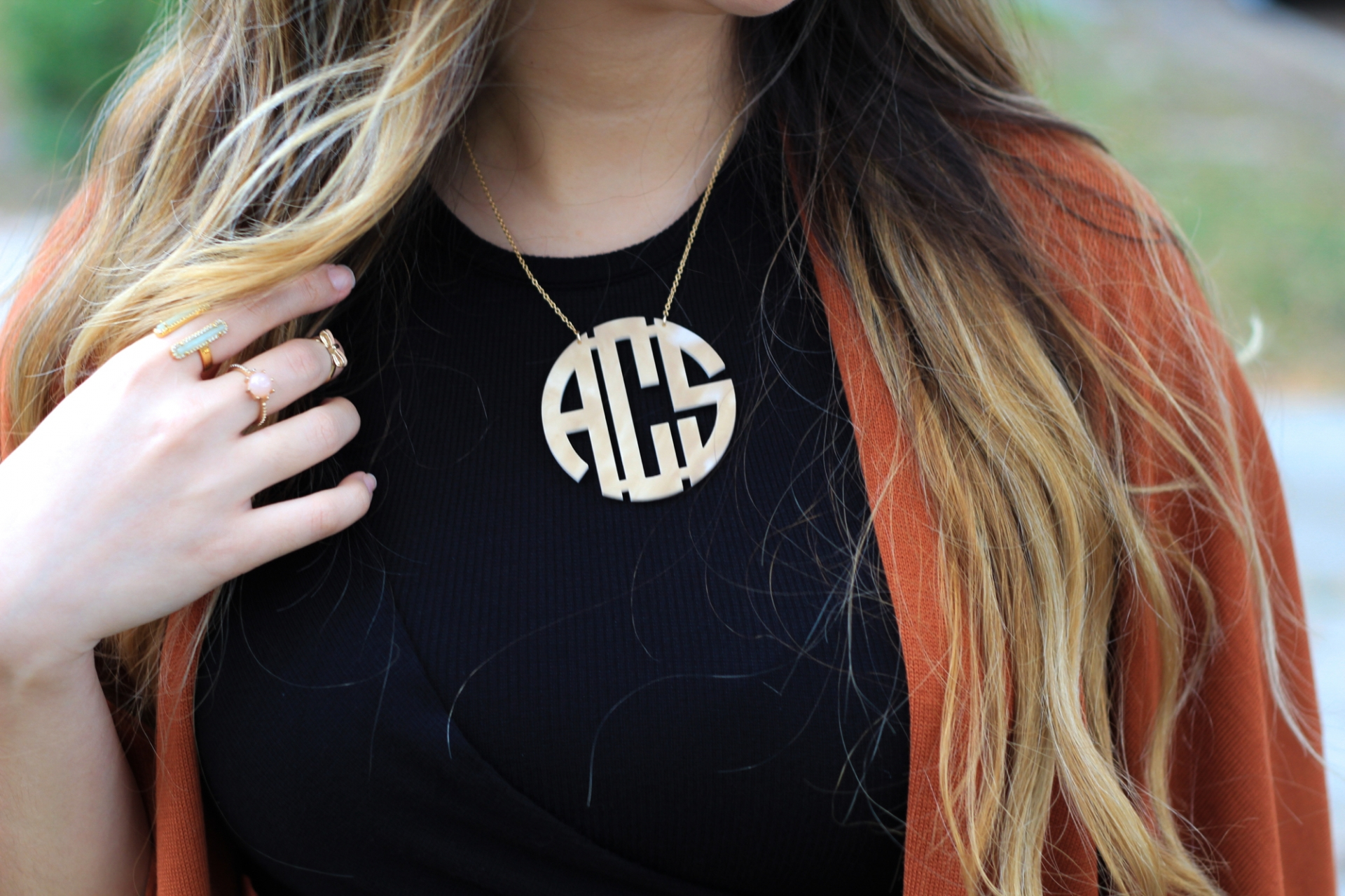 BaubleBar Blonde Marble Monogram Necklace