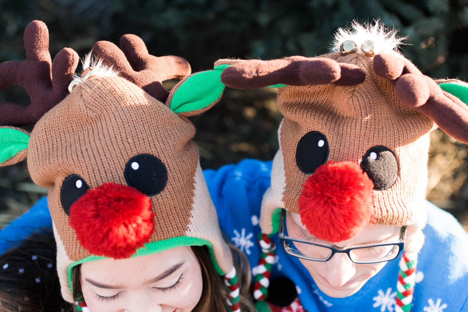 Matching Reindeer Beanies