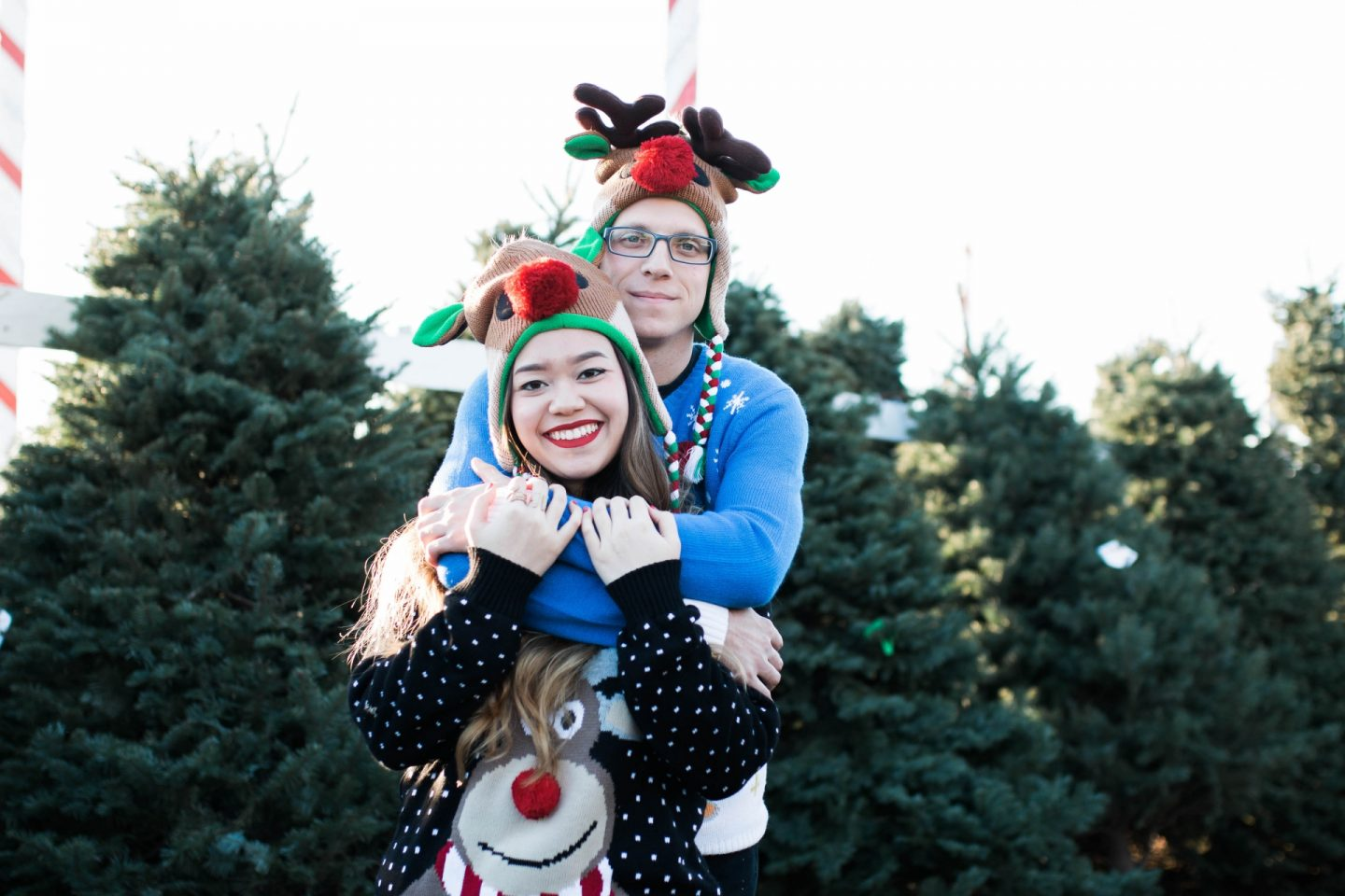 Ugly Christmas Sweaters and Reindeer Beanies