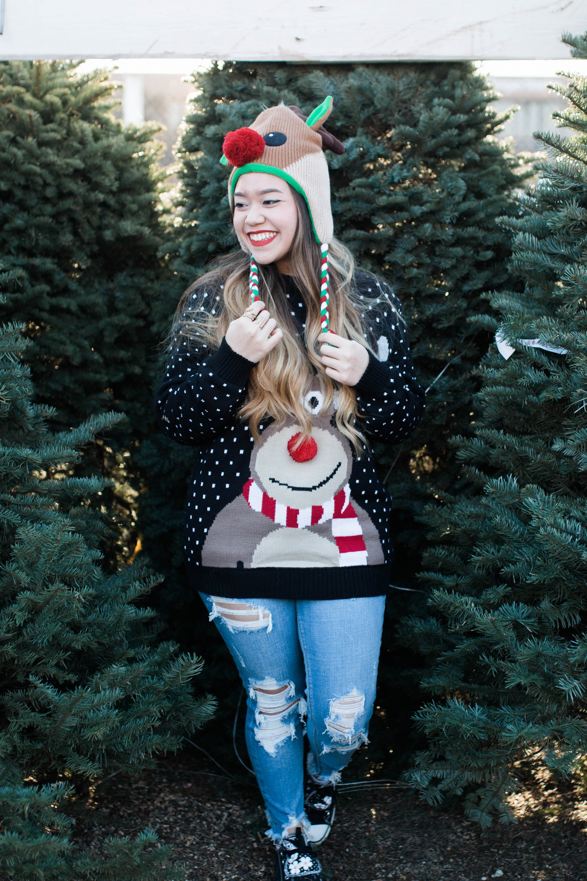 Reindeer Christmas Sweater Beanie