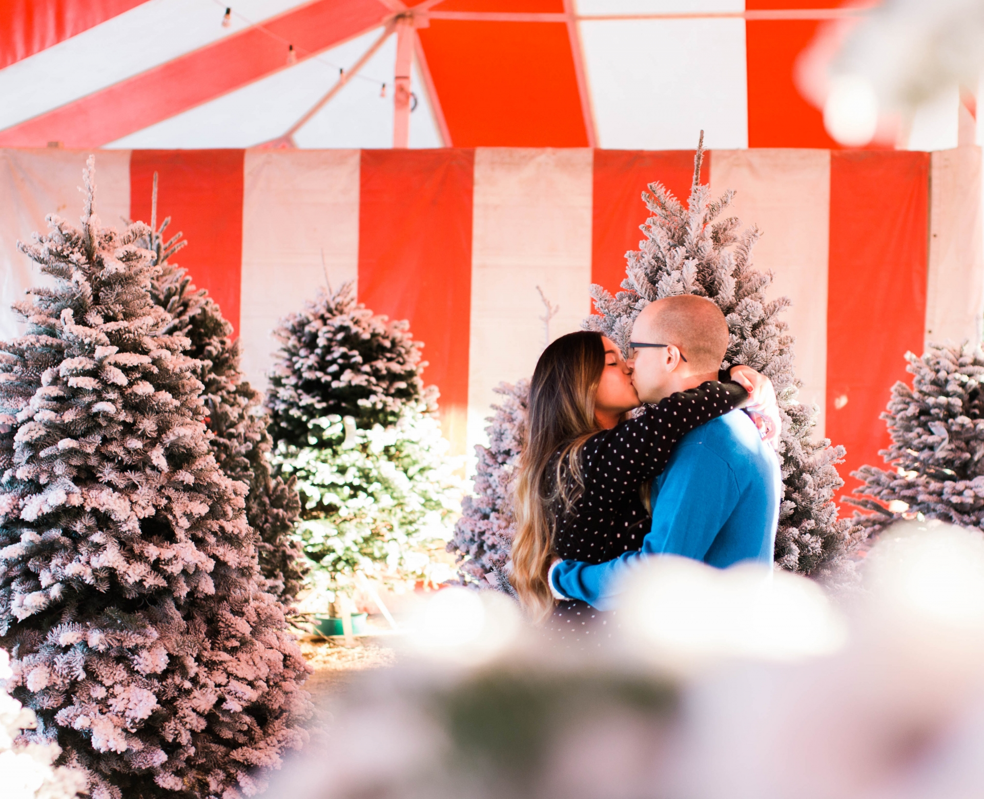 Mistletoe Kissing Couple