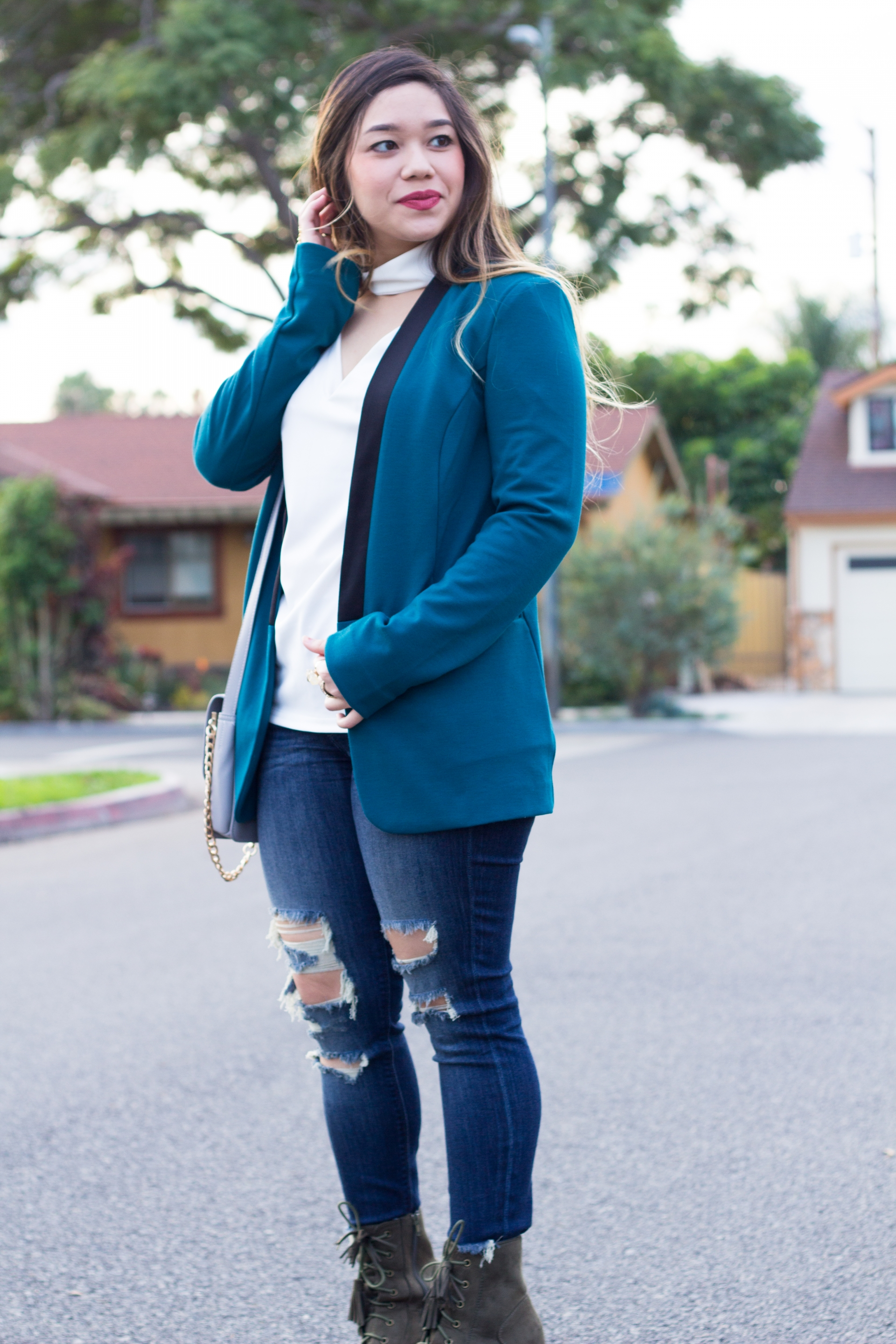 Teal Colorblock Blazer