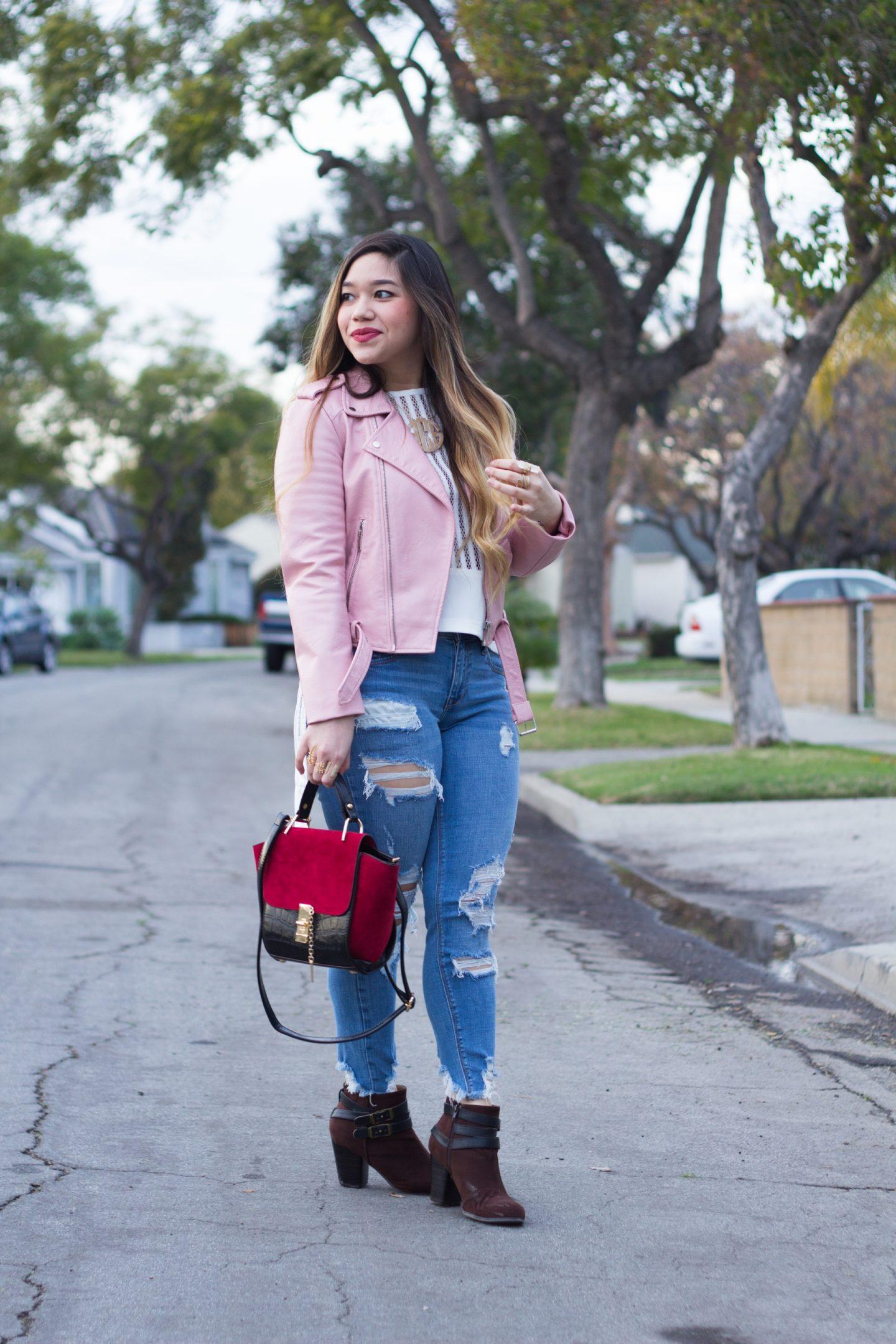 Raw Hem Jeans + Pink Faux Leather Jacket