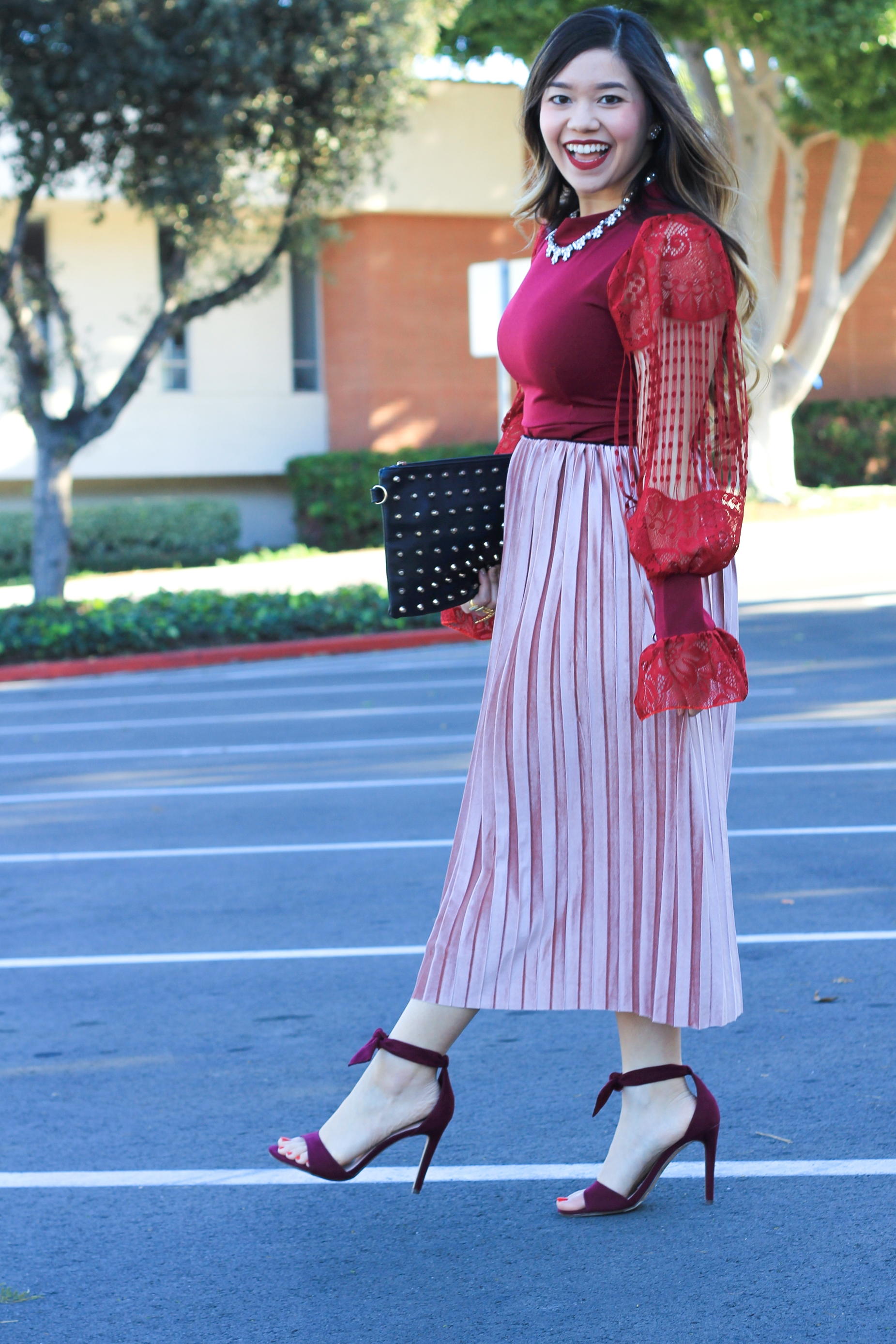 crushed velvet skirt pink