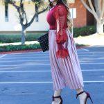 pink crushed velvet midi skirt