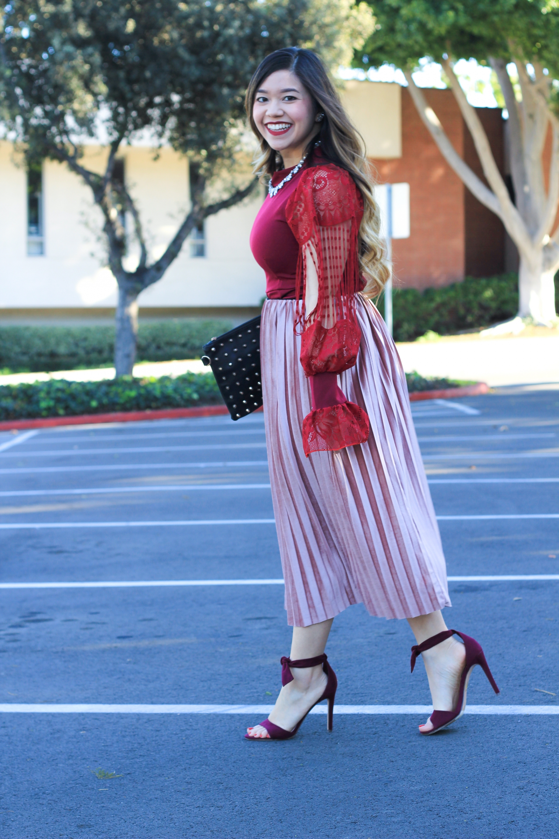pink crushed velvet midi skirt