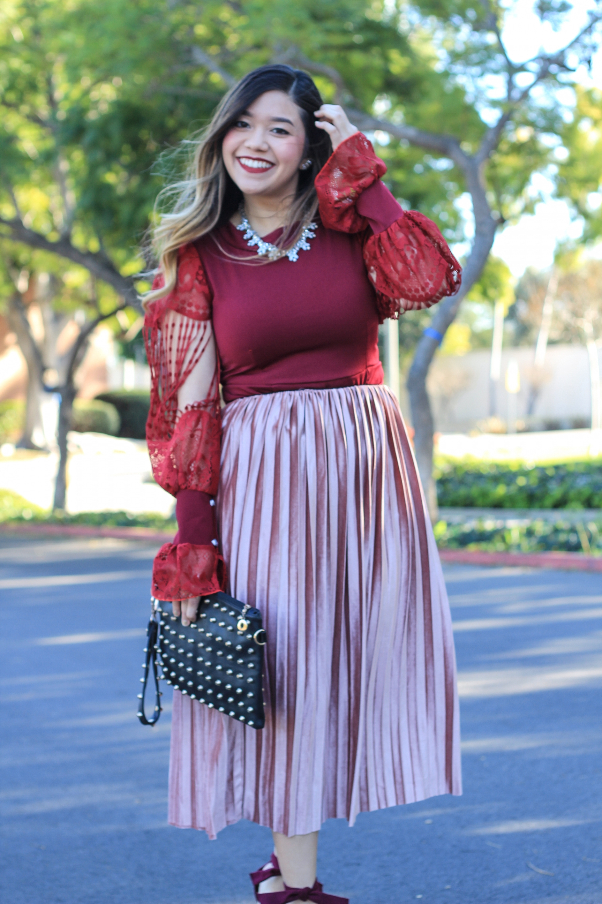 how to wear a velvet midi skirt - marblelously petite