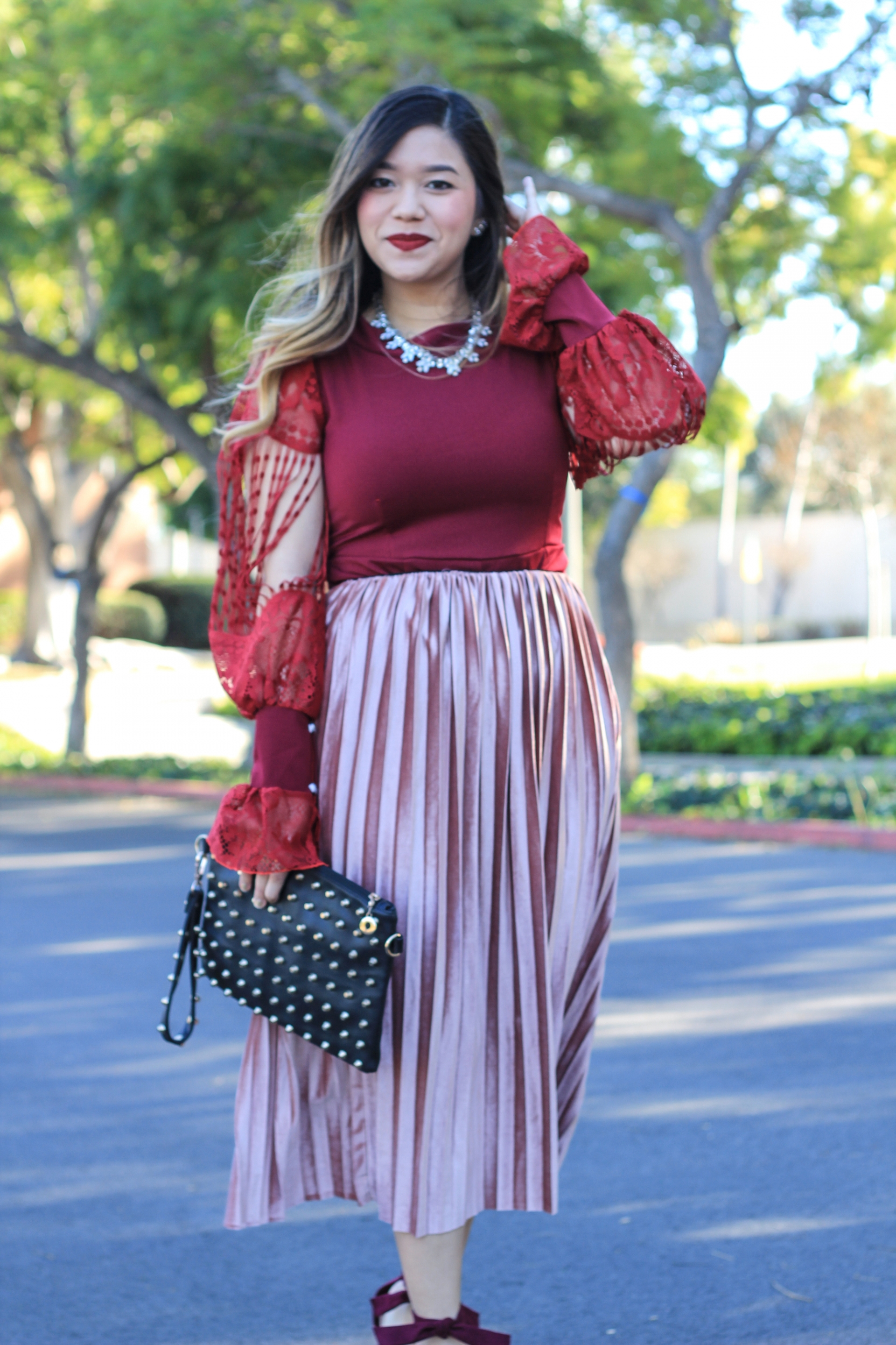 994f6ad0fc2d How to Wear A Velvet Midi Skirt - Marblelously Petite