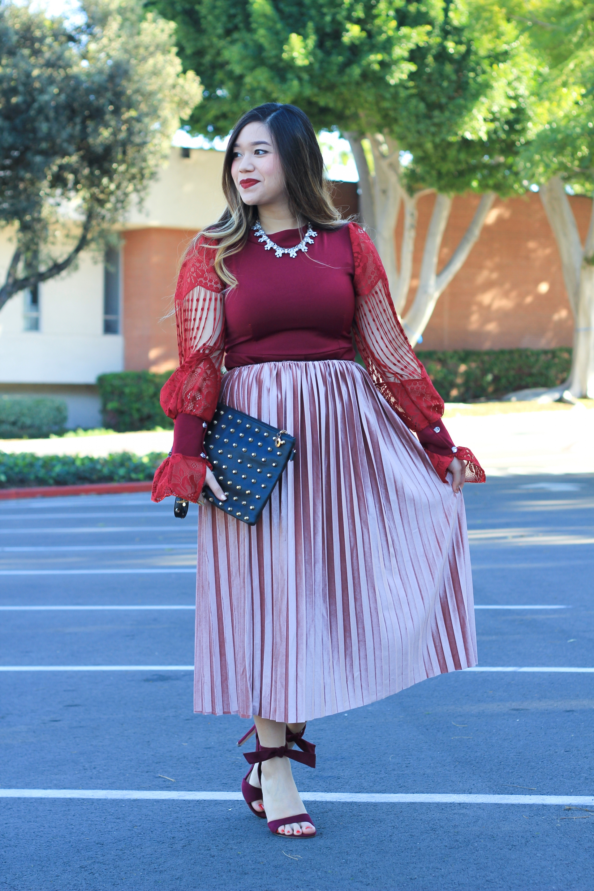 pink velvet pleated skirt