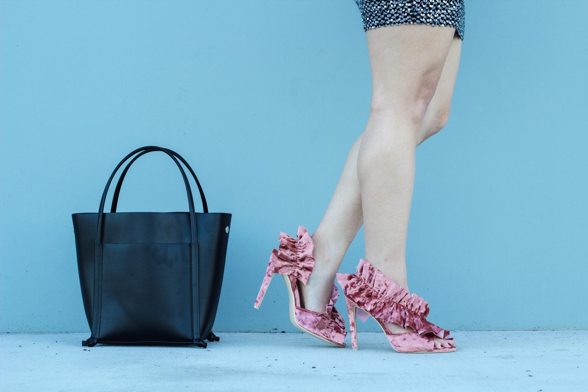 Mauve Velvet Ruffle Heels