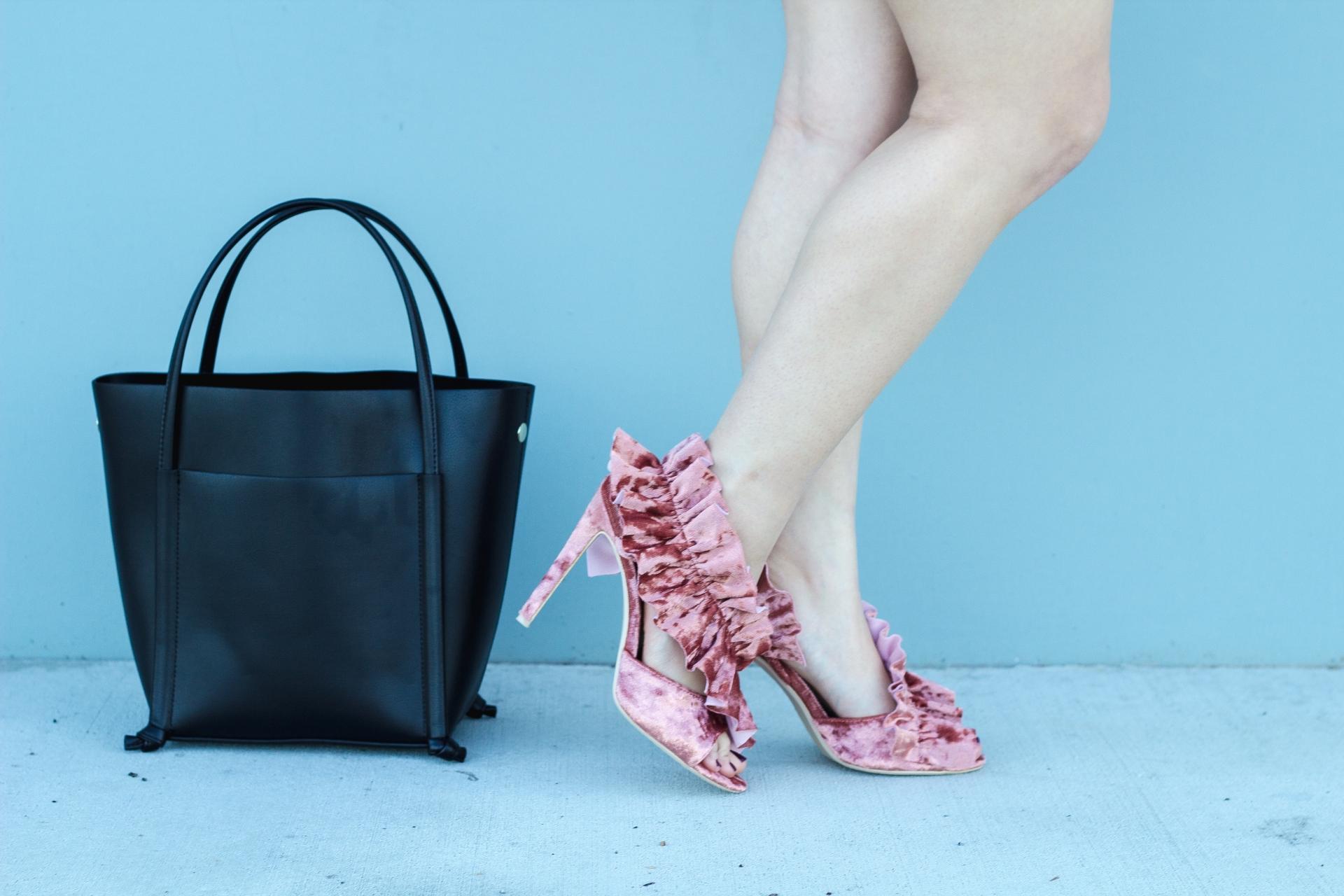 Ruffle Trim Velvet Heels
