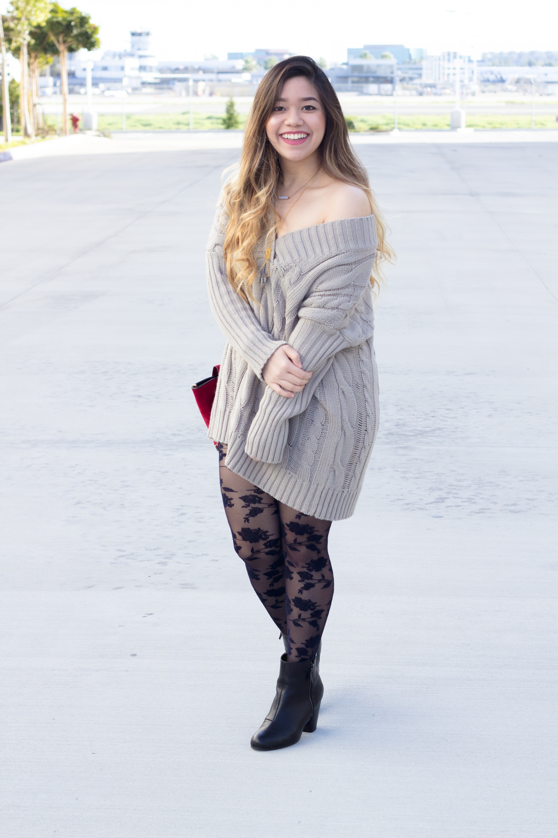 Cable Knit Sweater Dress with Lace Tights - Marblelously Petite