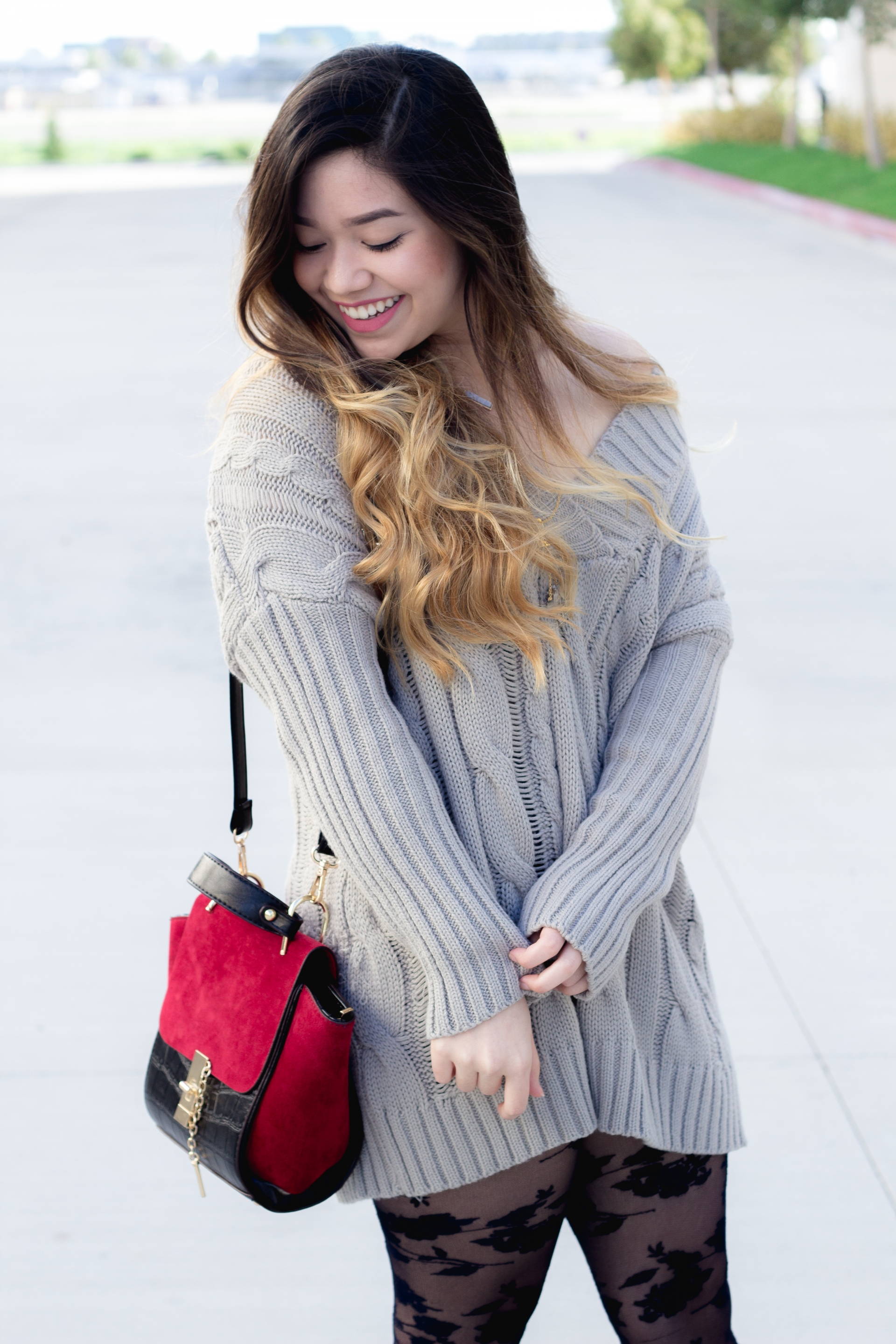 oversized cable knit sweater dress