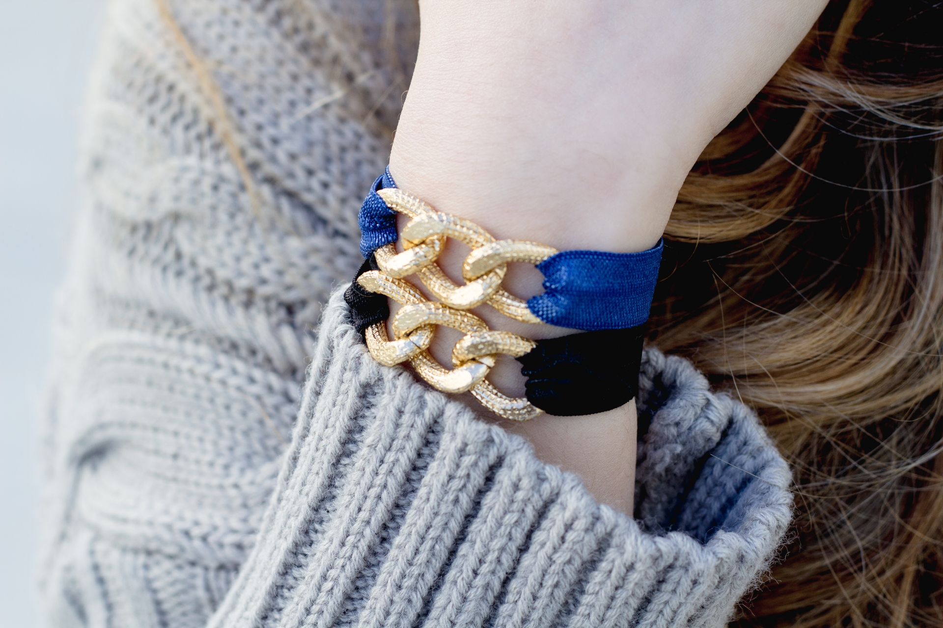 Chunky Gold Chain Hair Tie Bracelets