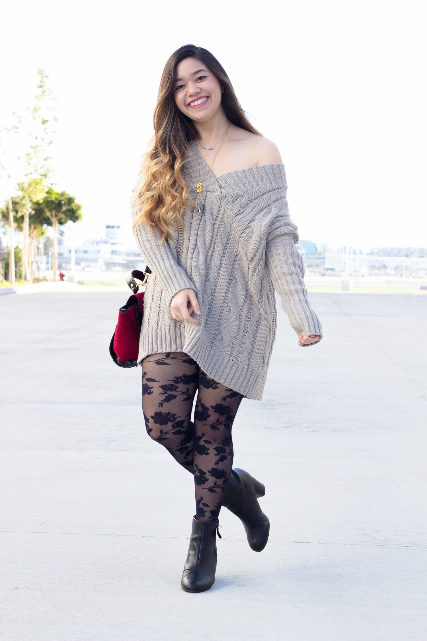 Cable Knit Sweater Dress with Lace Tights