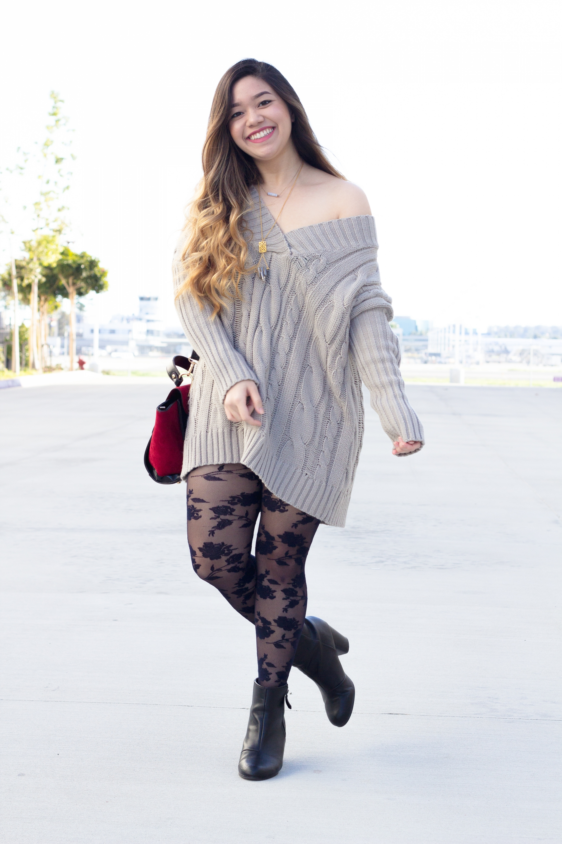 Oversized grey sweater dress