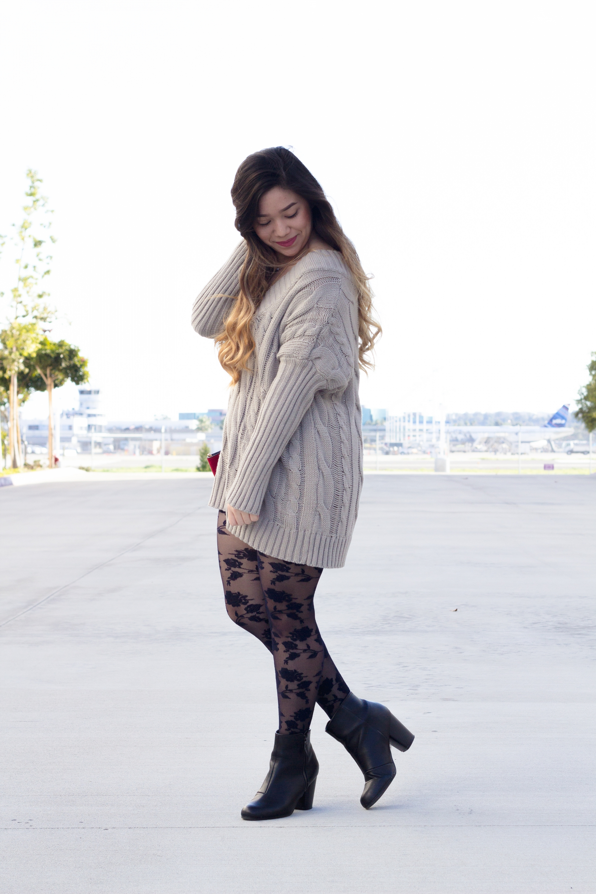 Oversized gray sweater dress