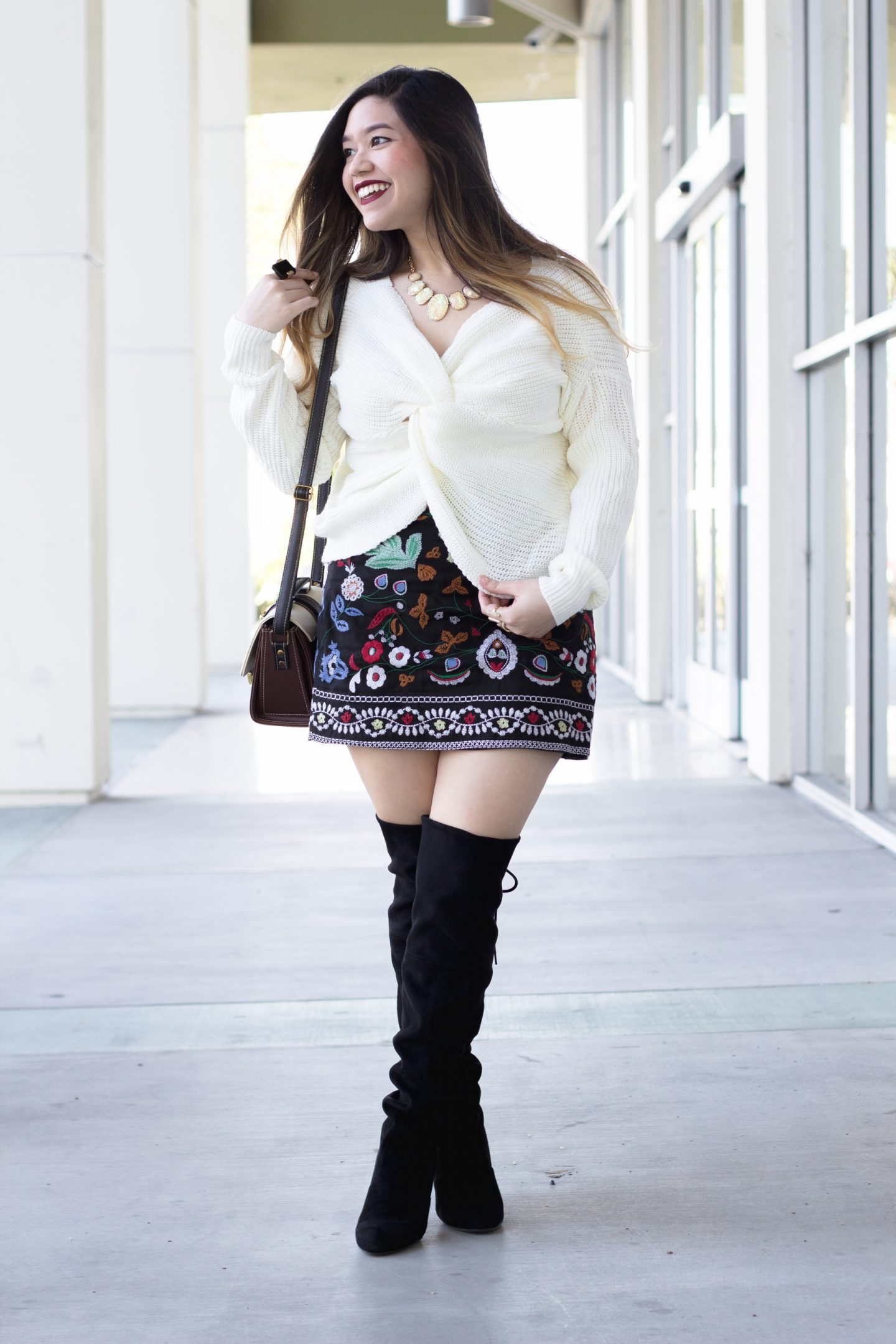 Embroidered Skirt and Knotted Front Sweater