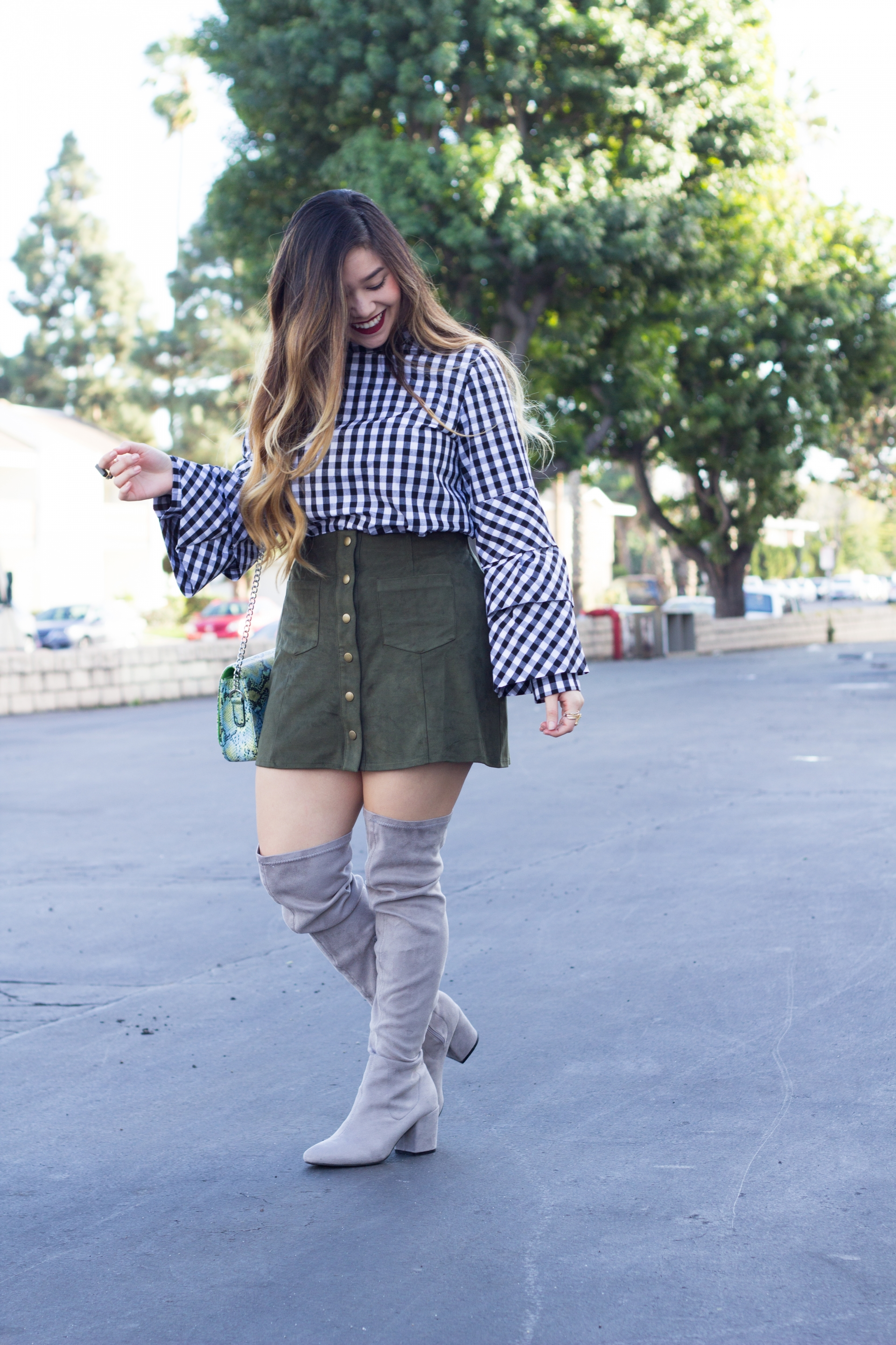 gingham print tiered sleeve top