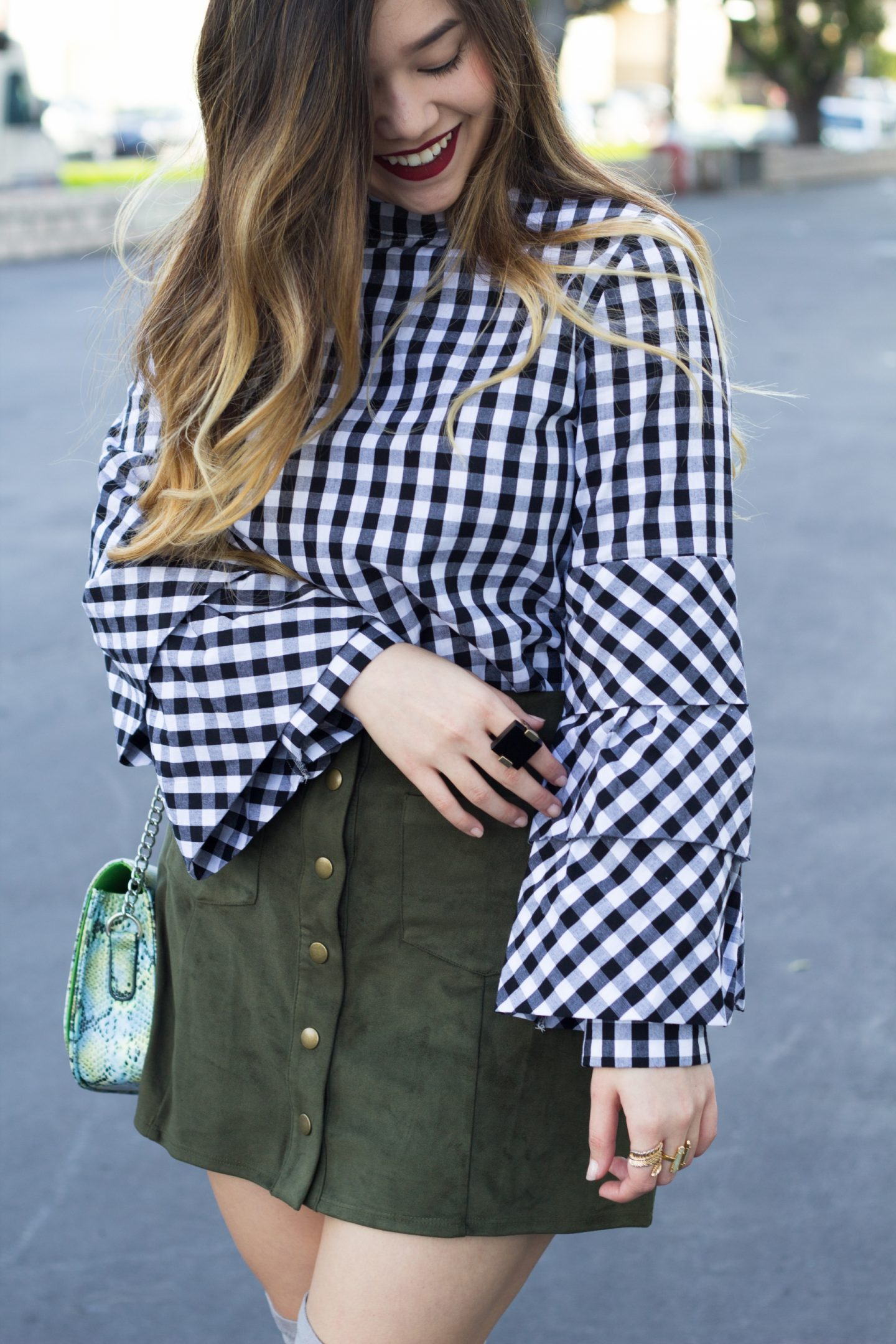 Gingham Print Tiered Sleeve Choker Top