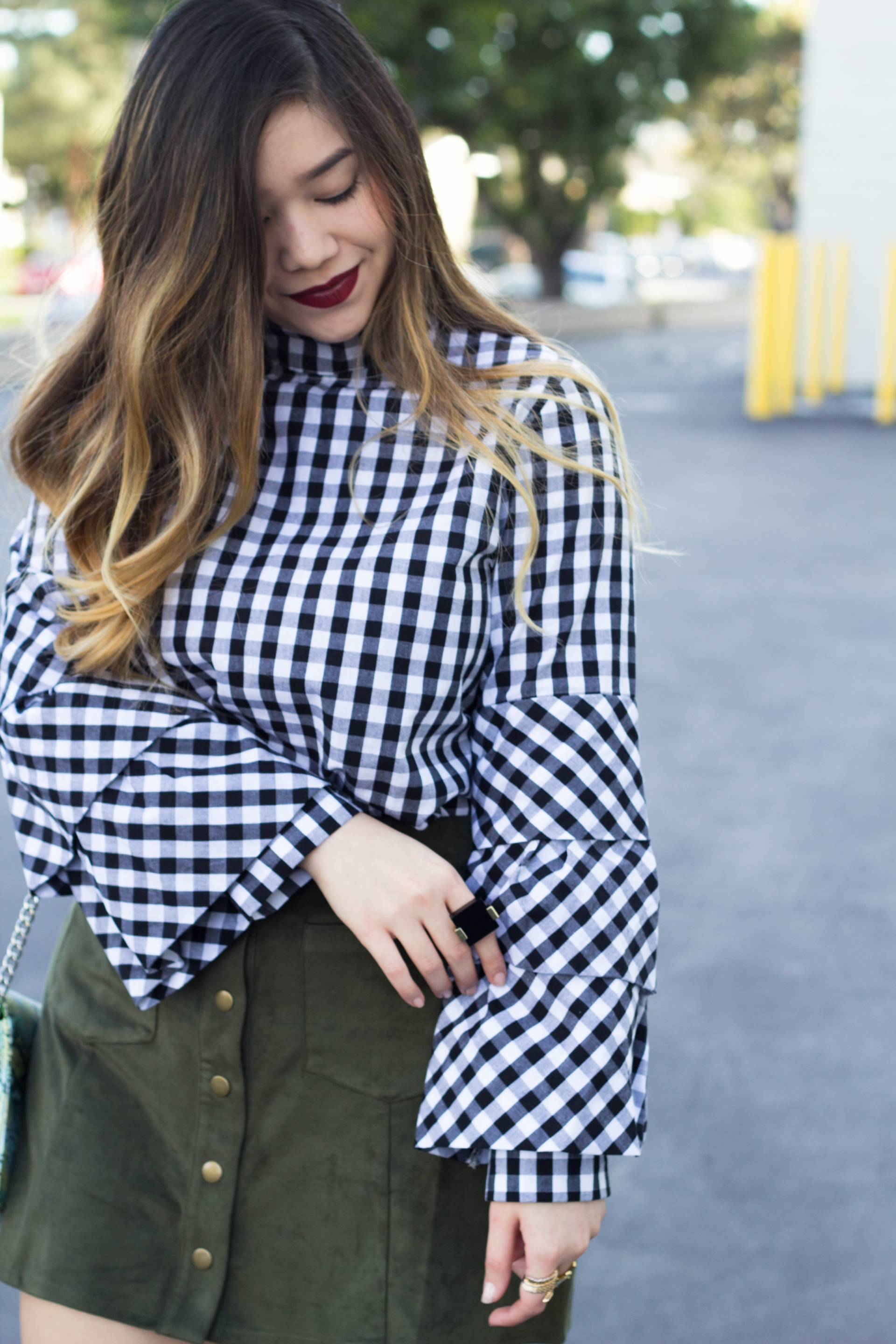 gingham layered sleeves