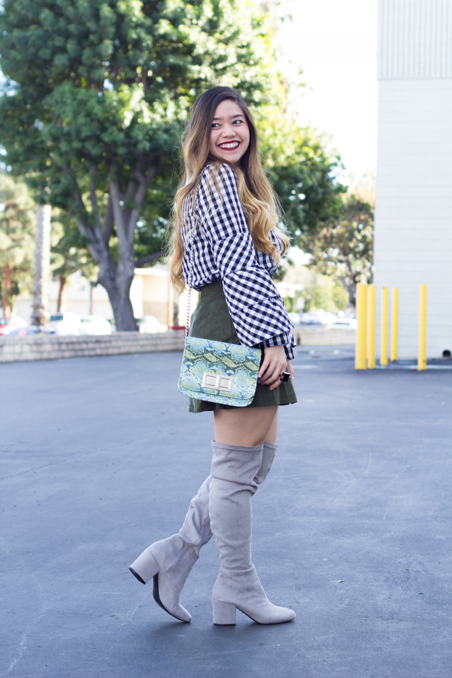 gingham layered sleeve top