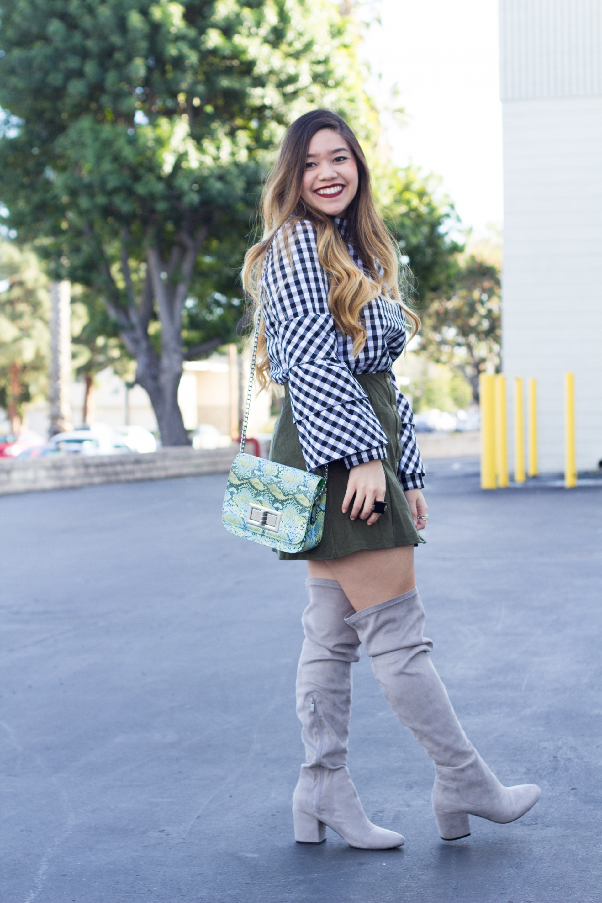 gingham layered sleeve blouse