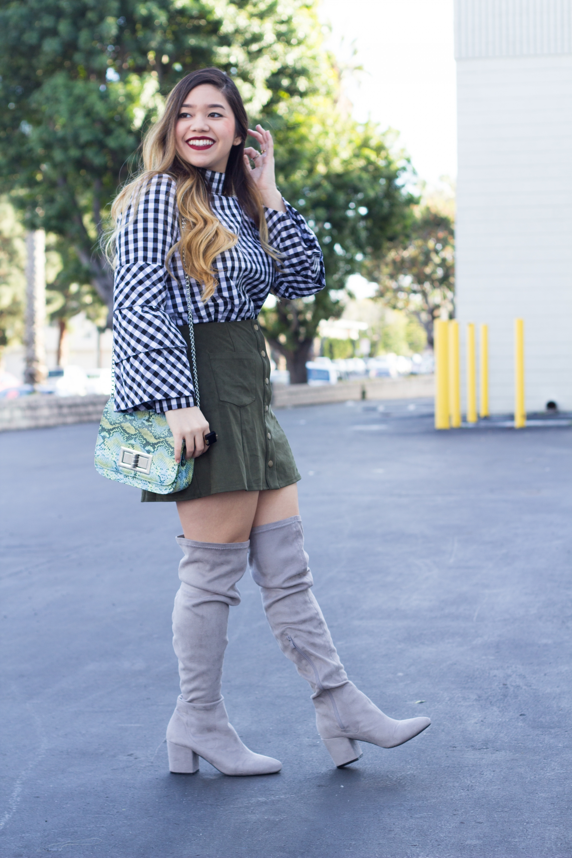 gingham high neck tiered sleeve top