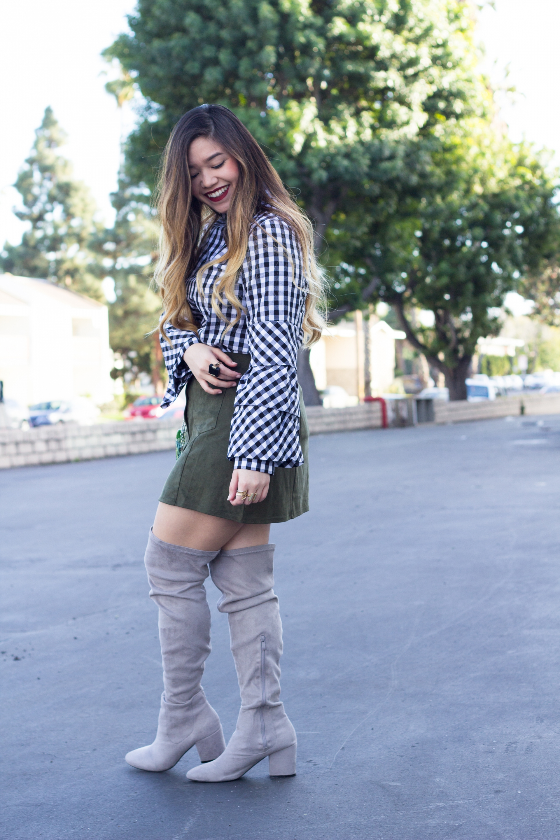 gingham print layered sleeve top