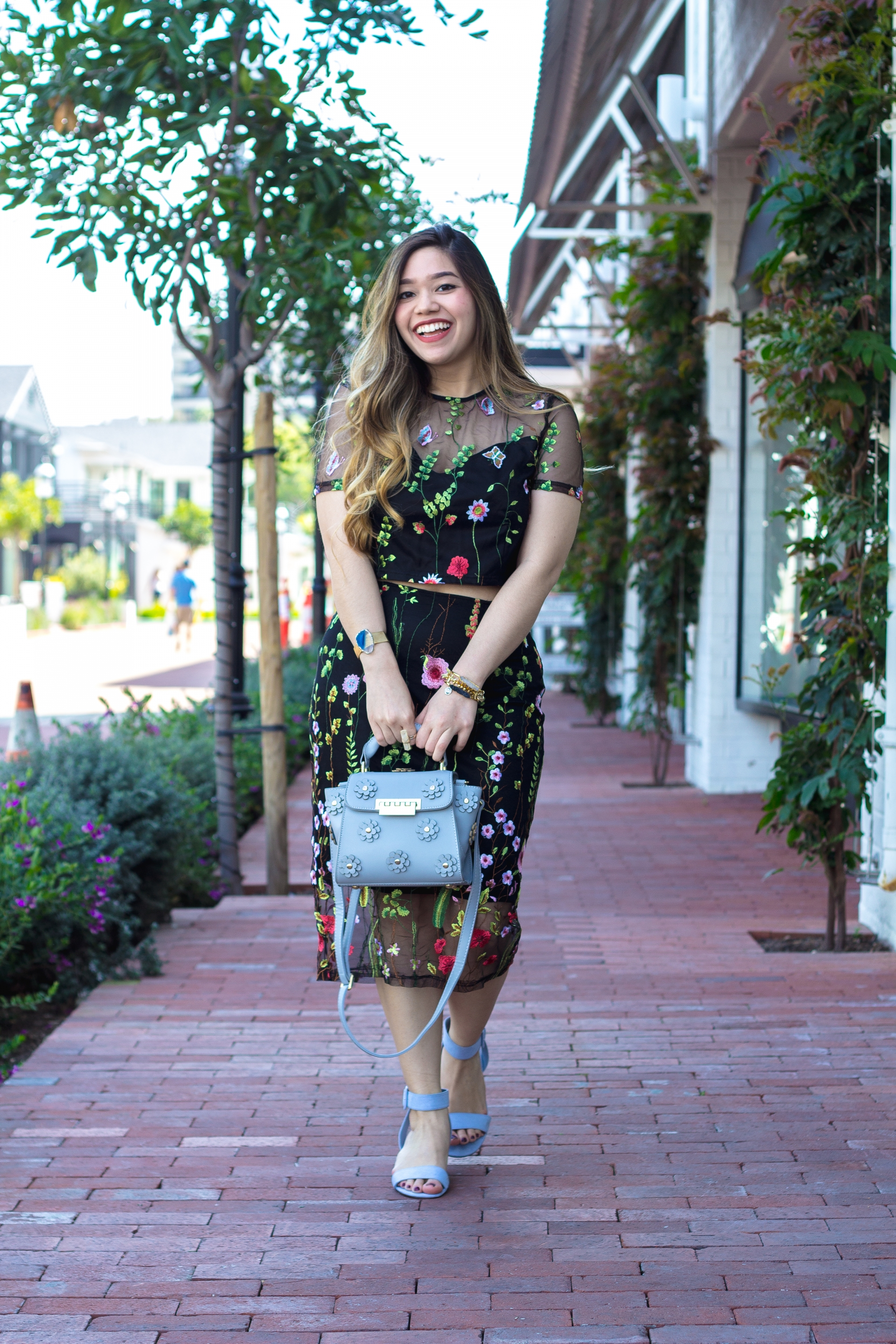 Floral Embroidered Top and Skirt