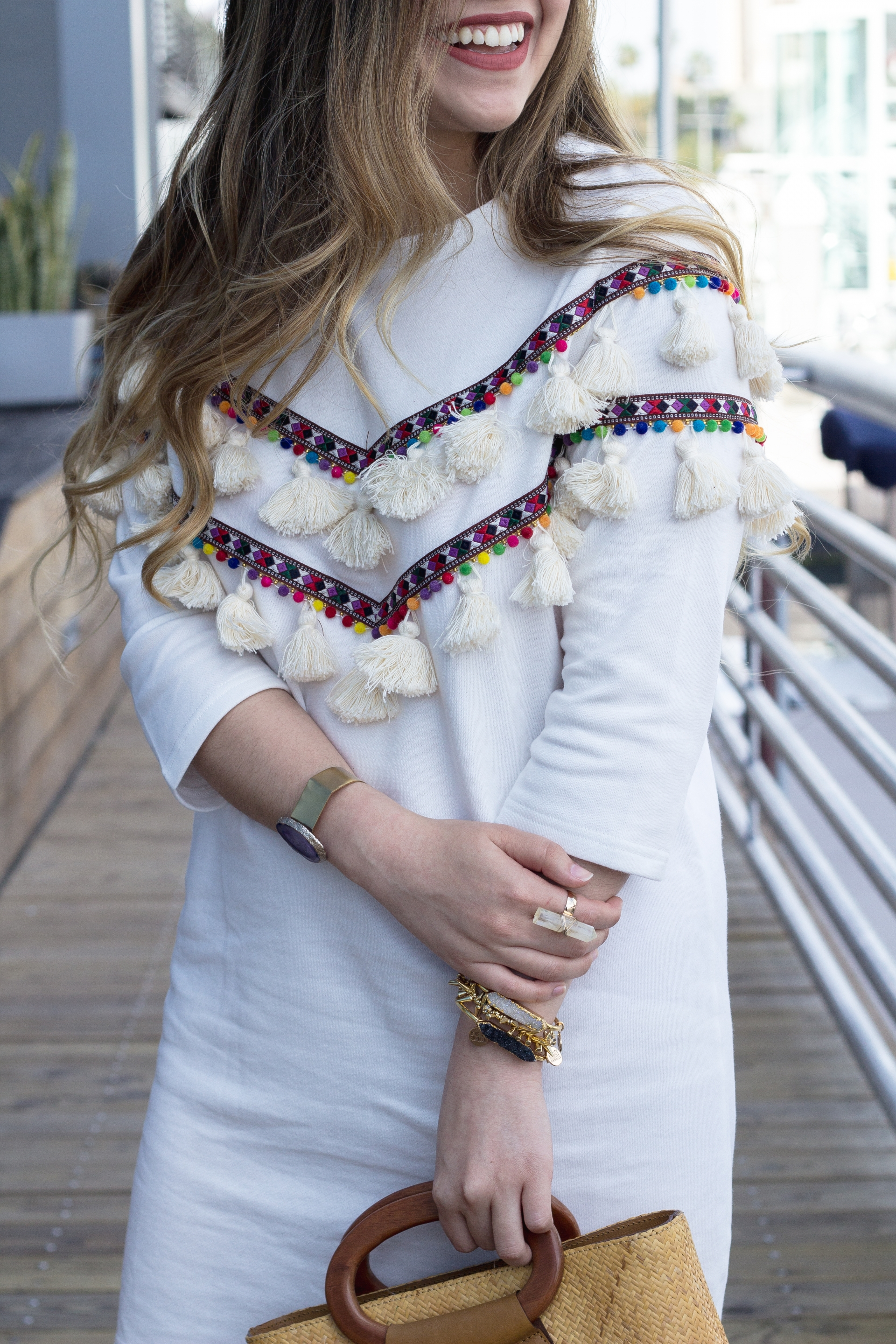 Embroidered Tape and Tassel Dress