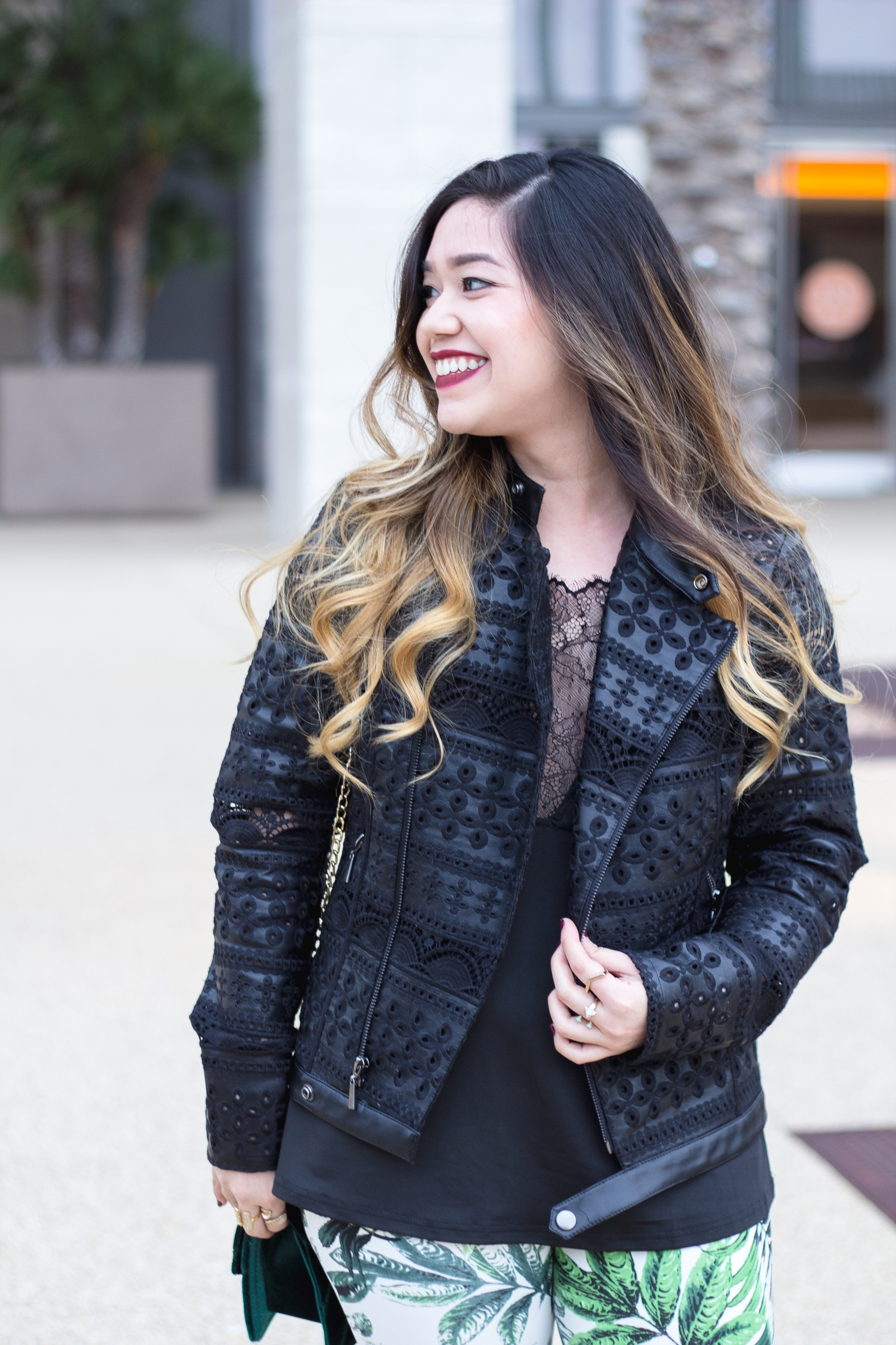Lace Faux Leather Jacket
