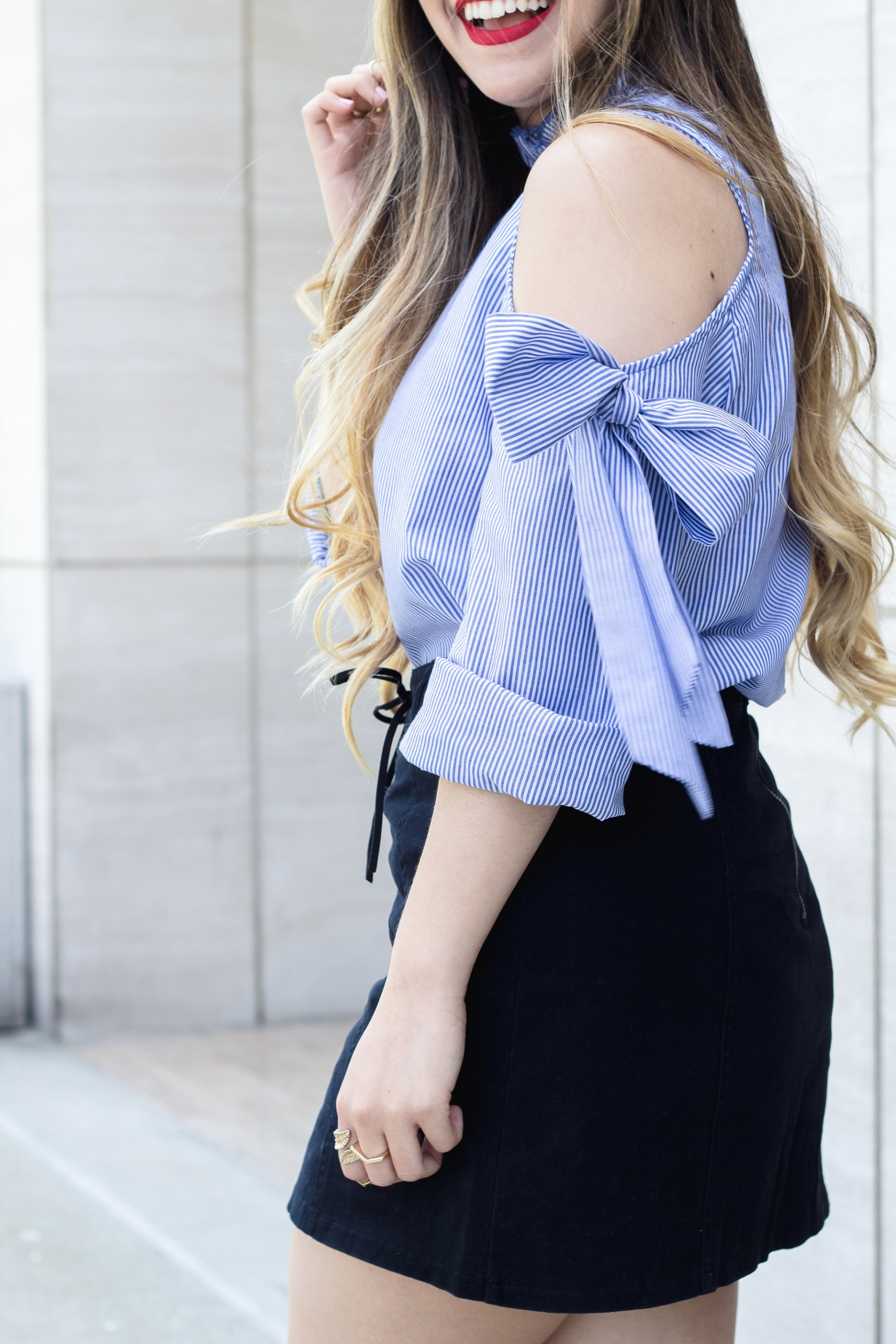Side Shoulders Bow Tie Blouse