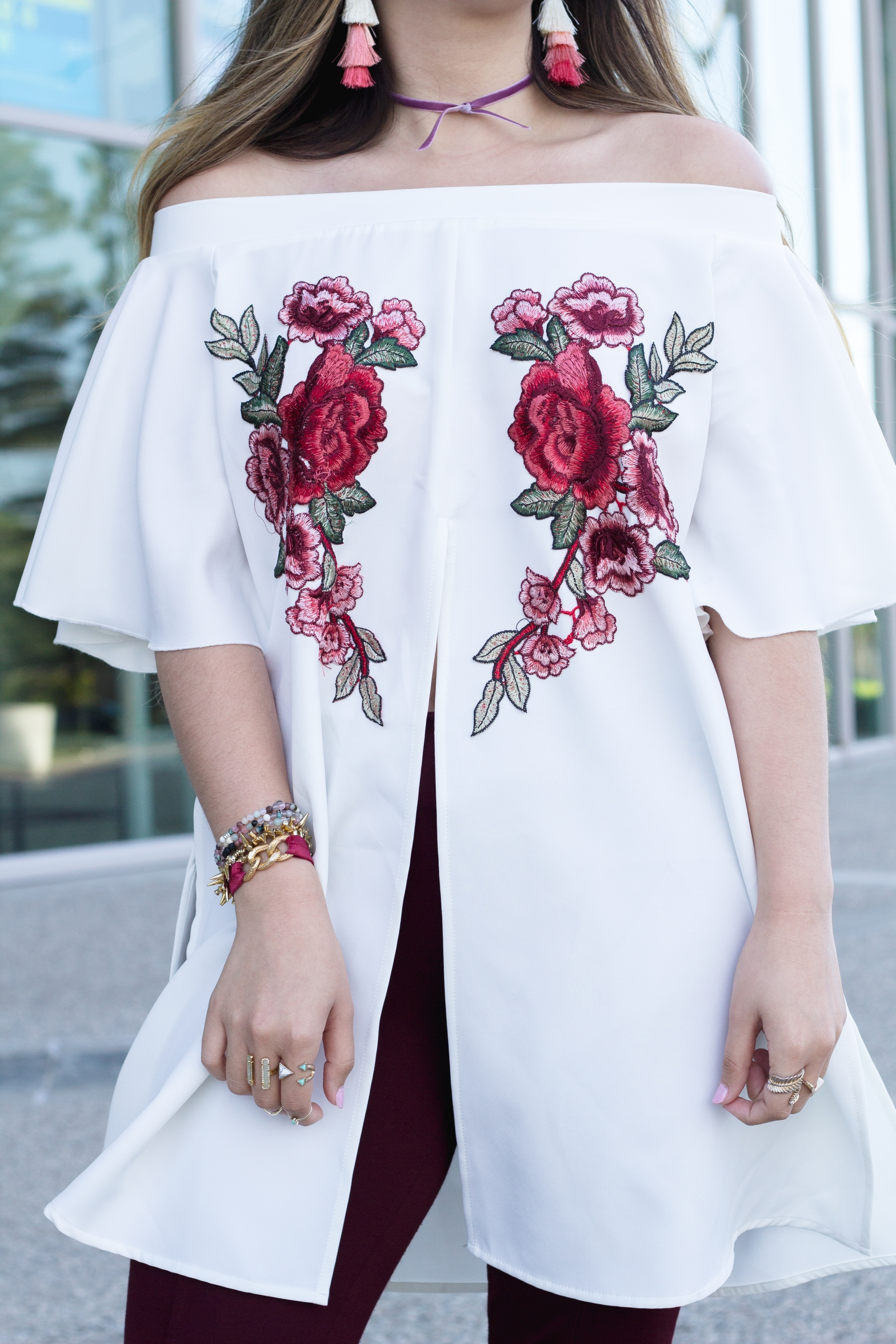 floral embroidery applique top