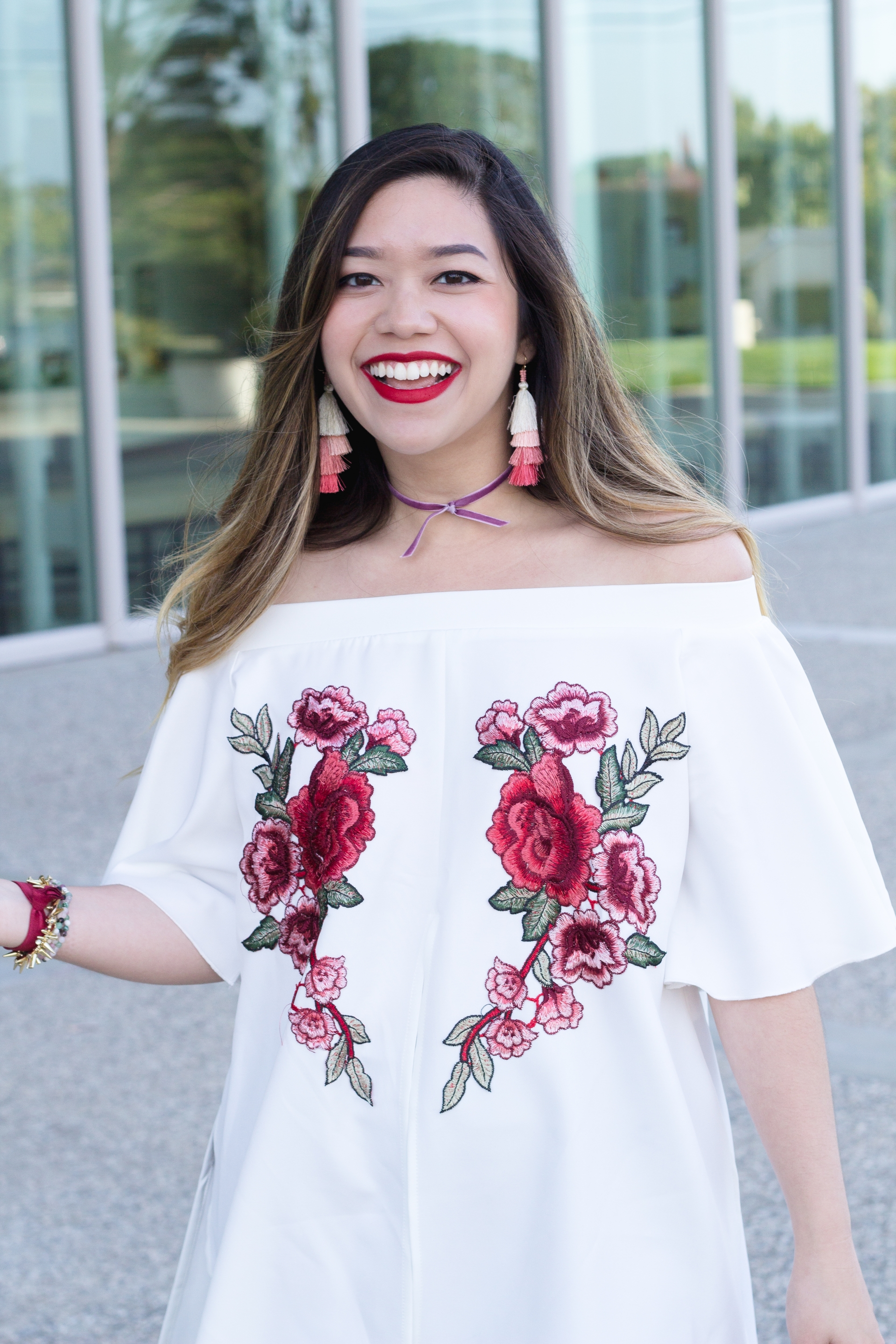 Off the Shoulder Floral Applique Top